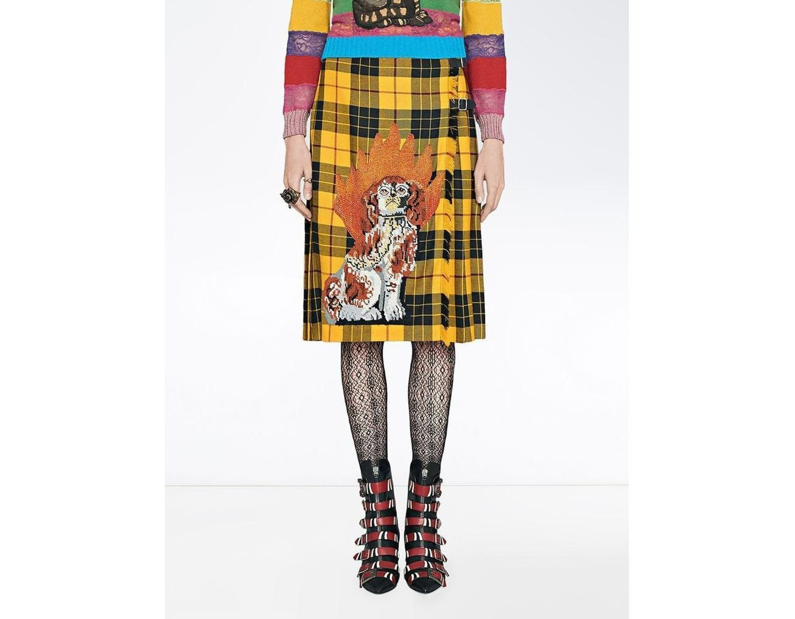 4460a4995 Gucci Embroidered Tartan Wool Skirt in Yellow - Save 62% - Lyst