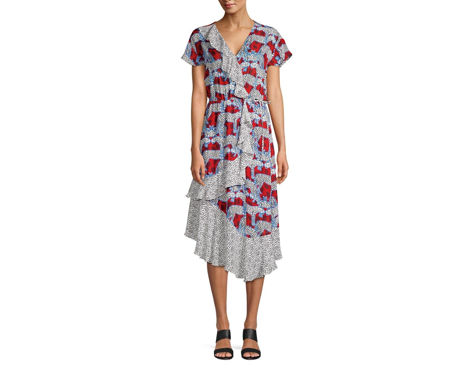 b7bed45b Parker Reina Mixed Print Wrap-front Midi Dress - Lyst