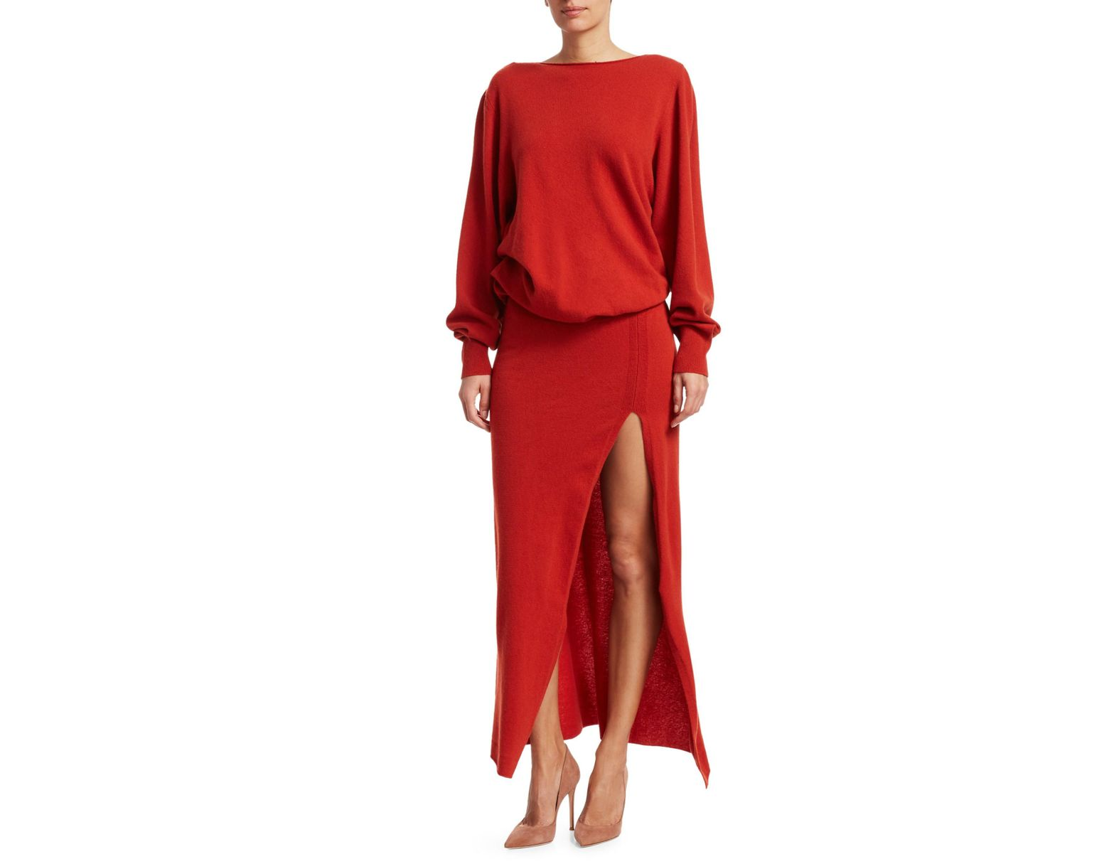 ce6457de5cc Lyst - Jacquemus Women s Jemaa Side Slit Maxi Sweater Dress - Red in Red -  Save 68%