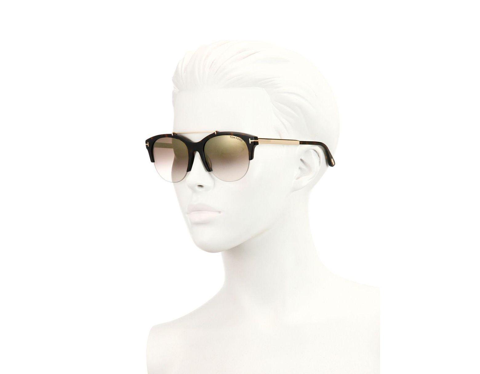 84dfbdd43b215 Tom Ford Adrenne 55mm Mirrored Round Sunglasses in Brown - Lyst