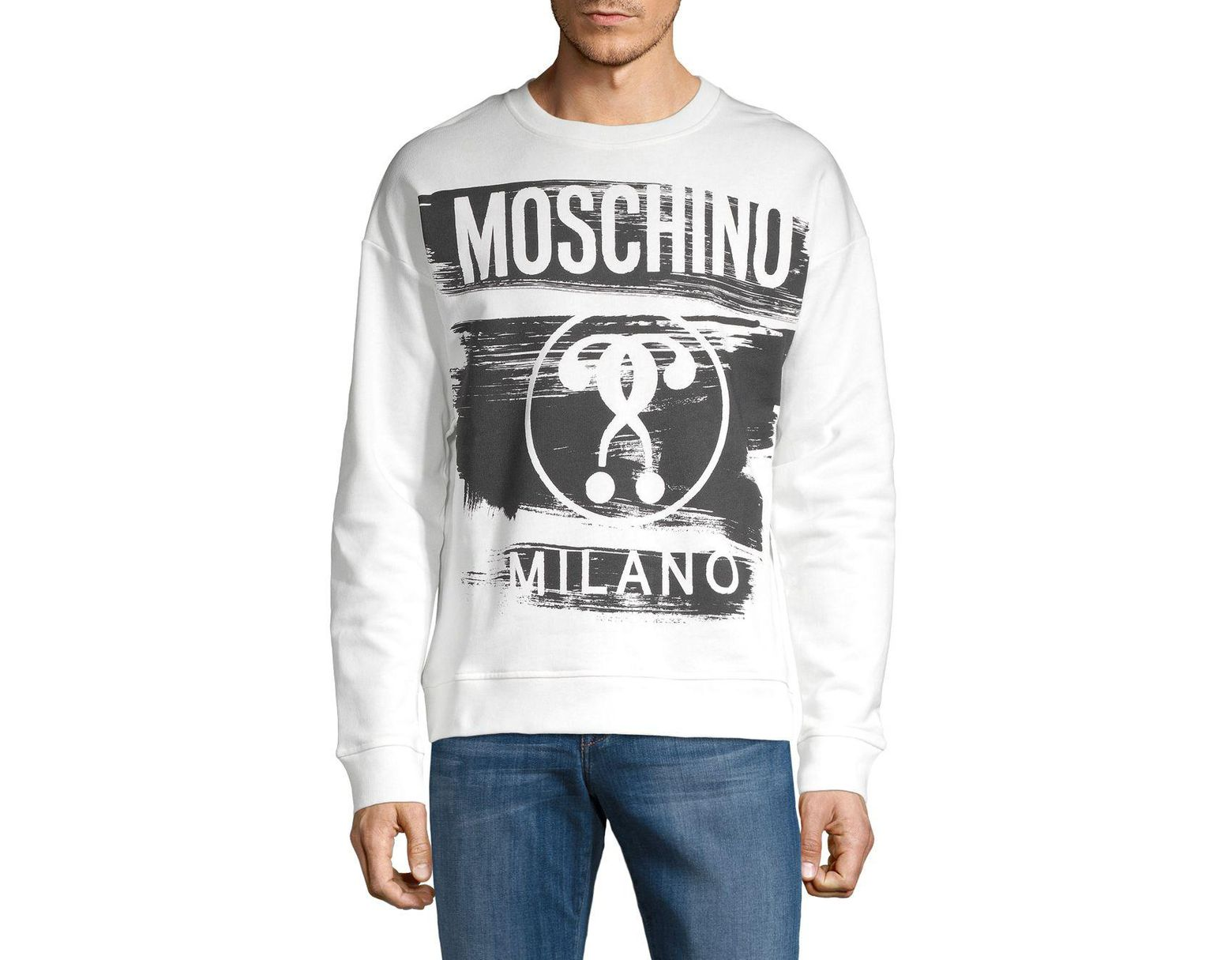 e7ff4bc27 Moschino Graphic Cotton Sweatshirt in White for Men - Save 28% - Lyst