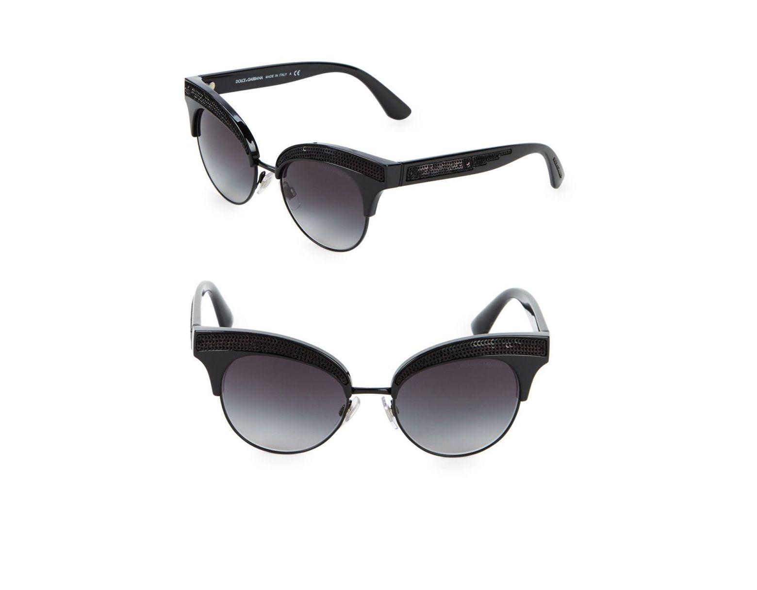 98a6a712f Dolce & Gabbana 50mm Sequin Trim Cateye Sunglasses in Black - Lyst