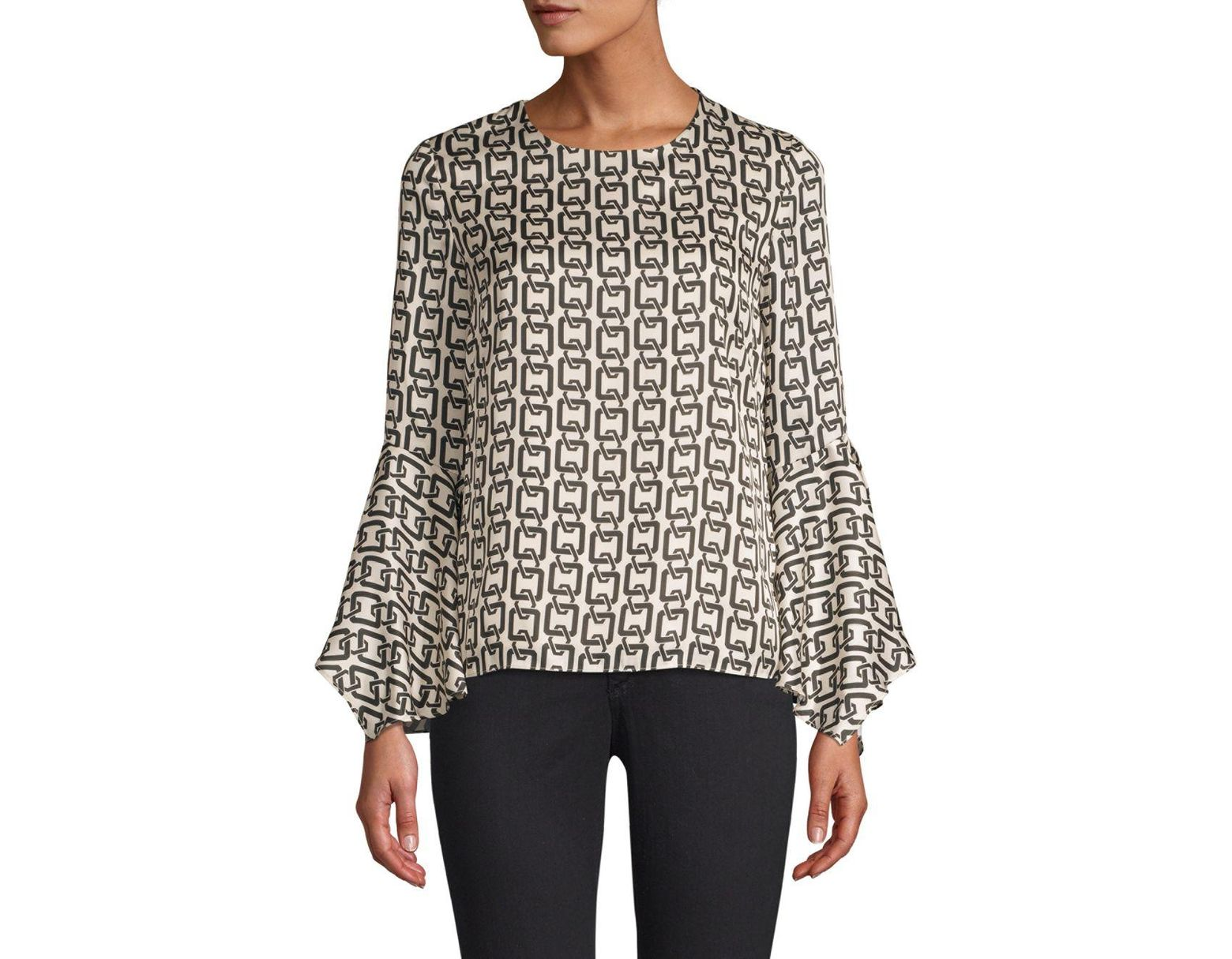 4dd1a90108711b MILLY Holly Chain-print Bell-sleeve Top in Black - Save 33% - Lyst