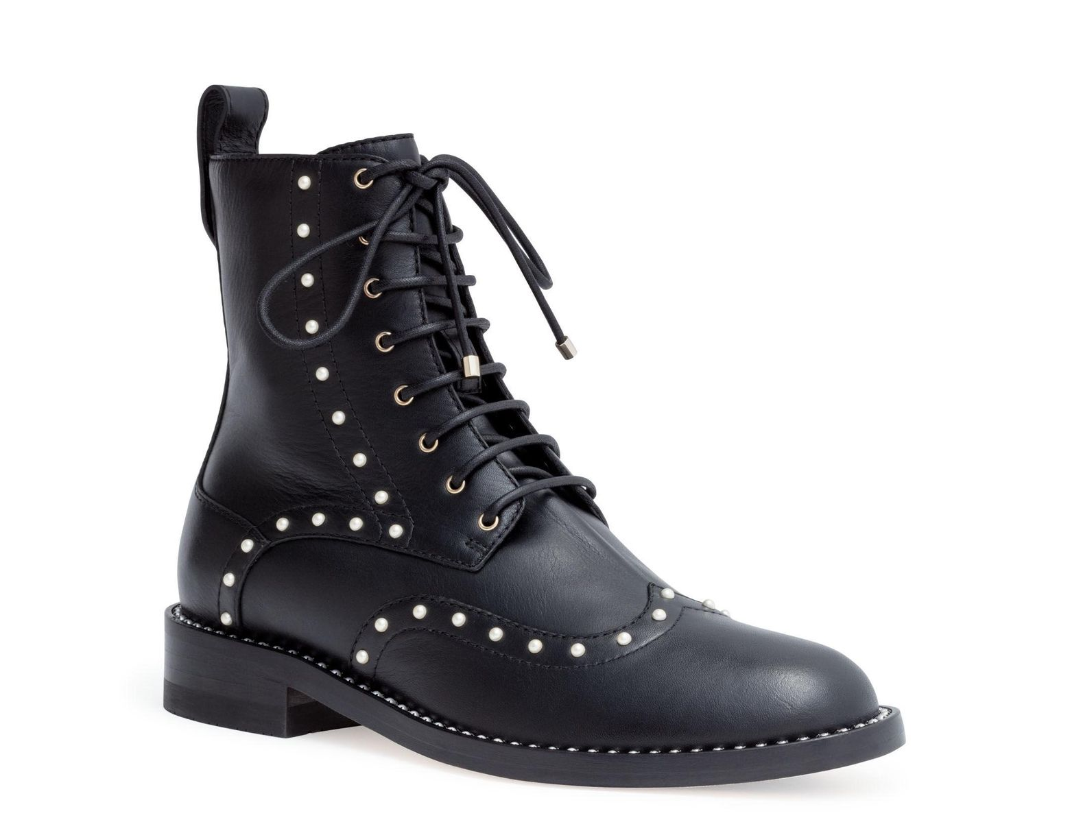 f79f6d14e Jimmy Choo Hanah 10 Black Leather Pearl Boots in Black - Save 59% - Lyst