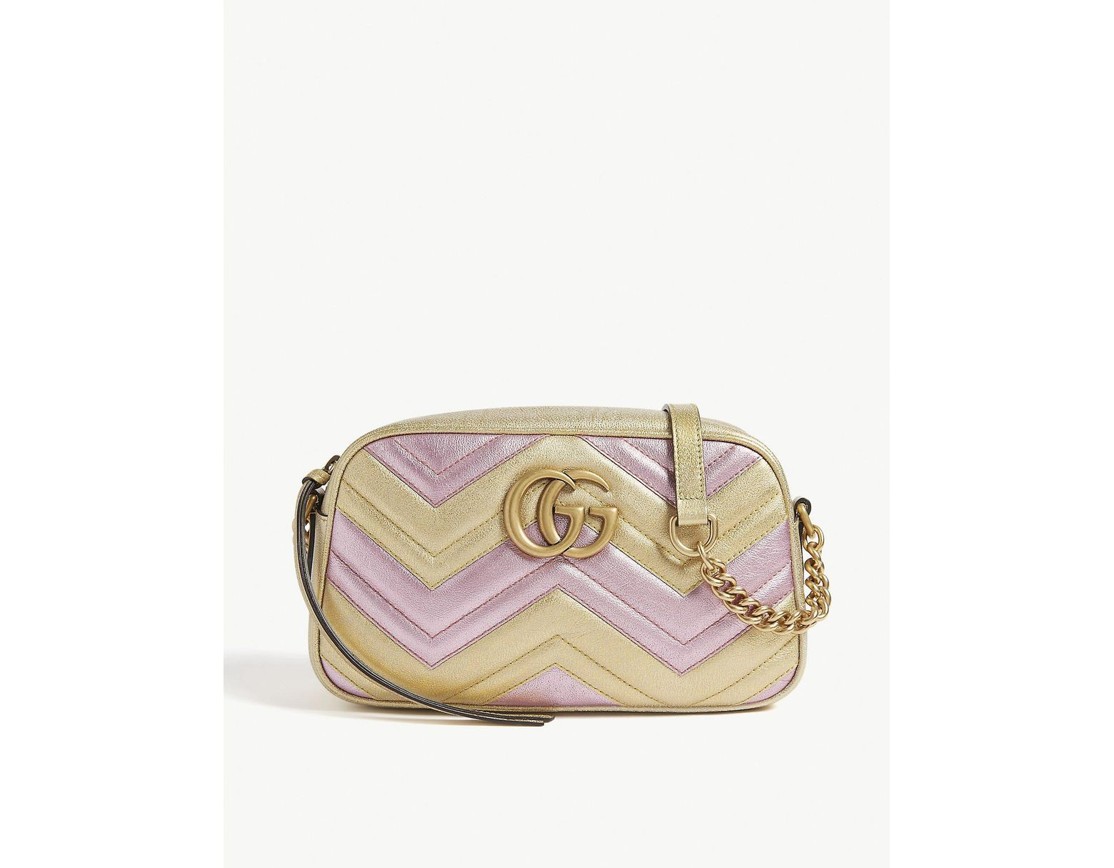 aa806eac18da Gucci Women's Gold And Pink Zigzag GG Marmont Metallic Quilted Leather  Shoulder Bag - Lyst