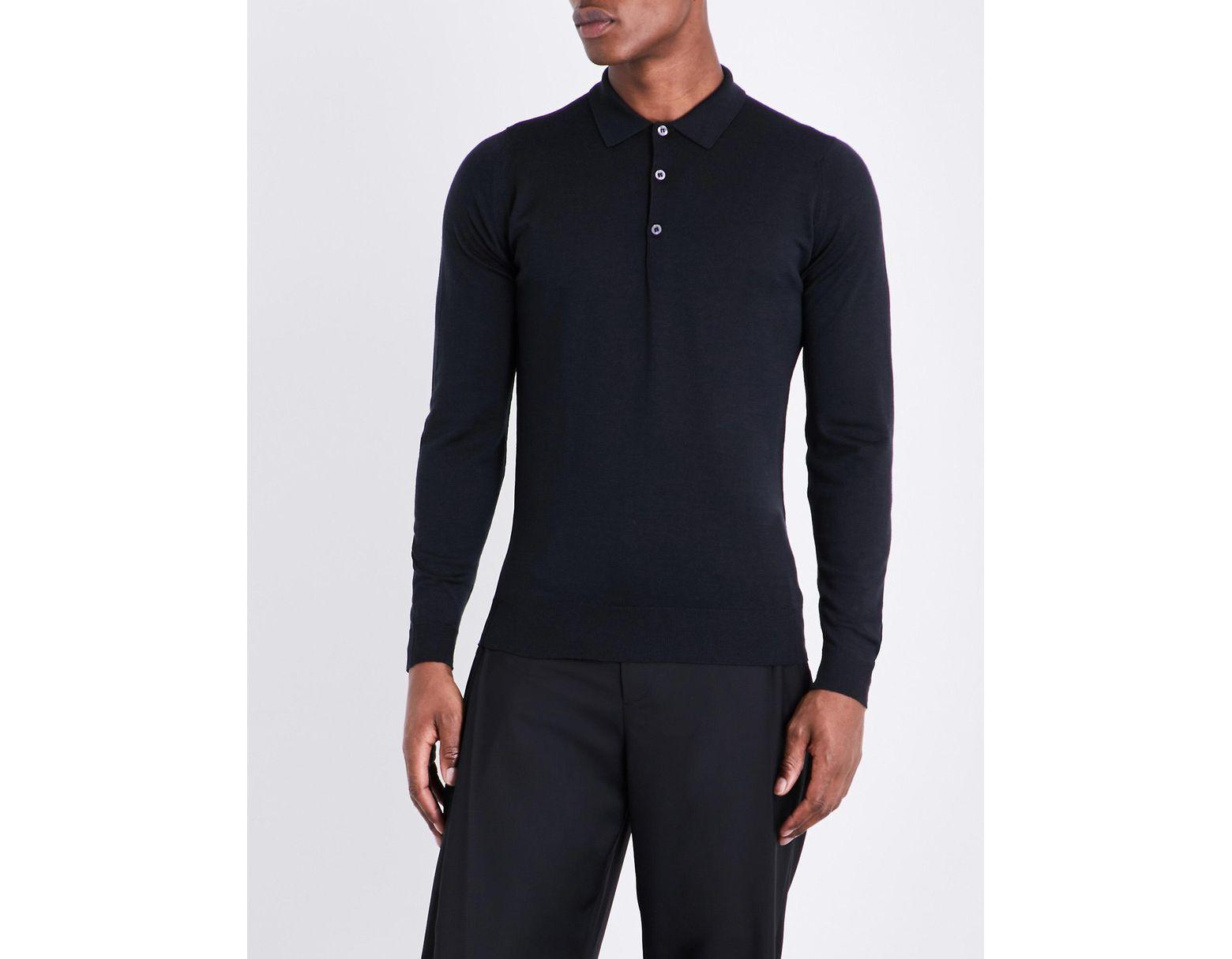 39361389 John Smedley Belper Knitted Polo Jumper in Black for Men - Lyst