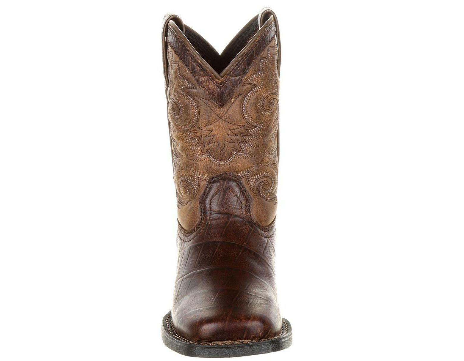 688f22acf7a Durango Lil' Mustang Little Kids' Faux Gator Western Boot in Brown ...