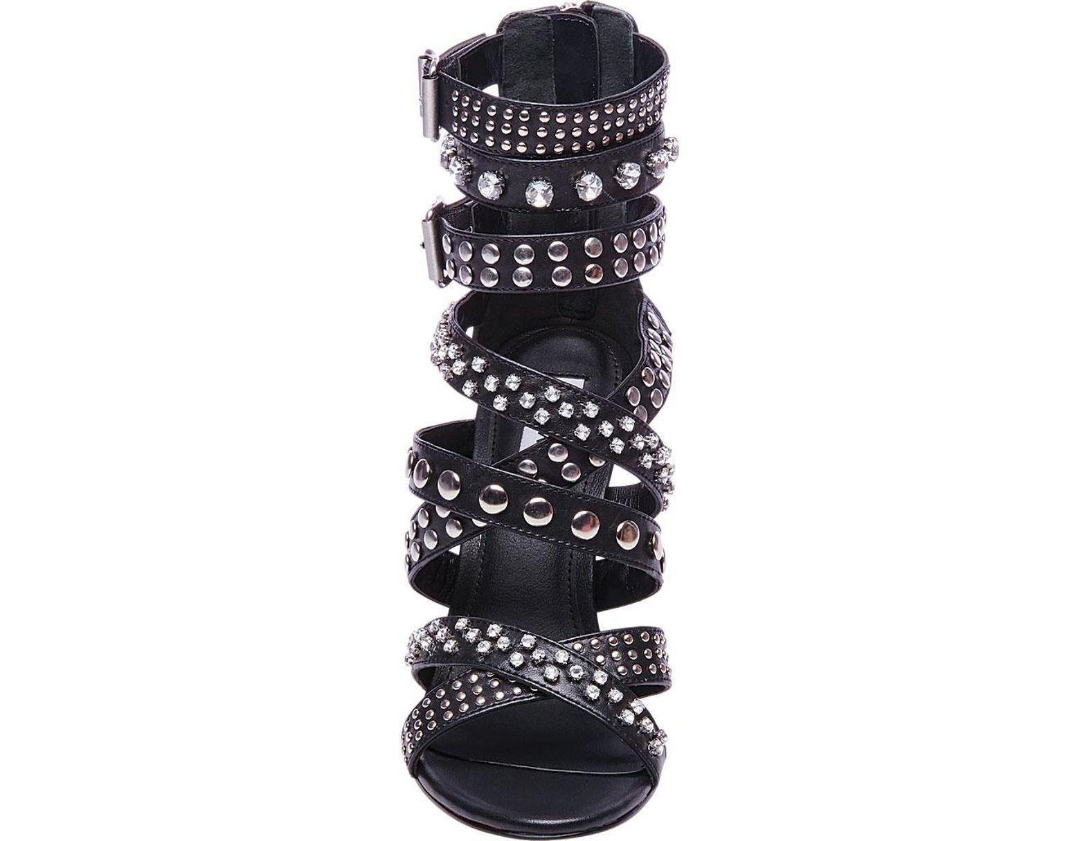 ede93d99dbe9 Lyst - Steve Madden Moto Studded Ankle Strap Sandal in Black - Save 29%