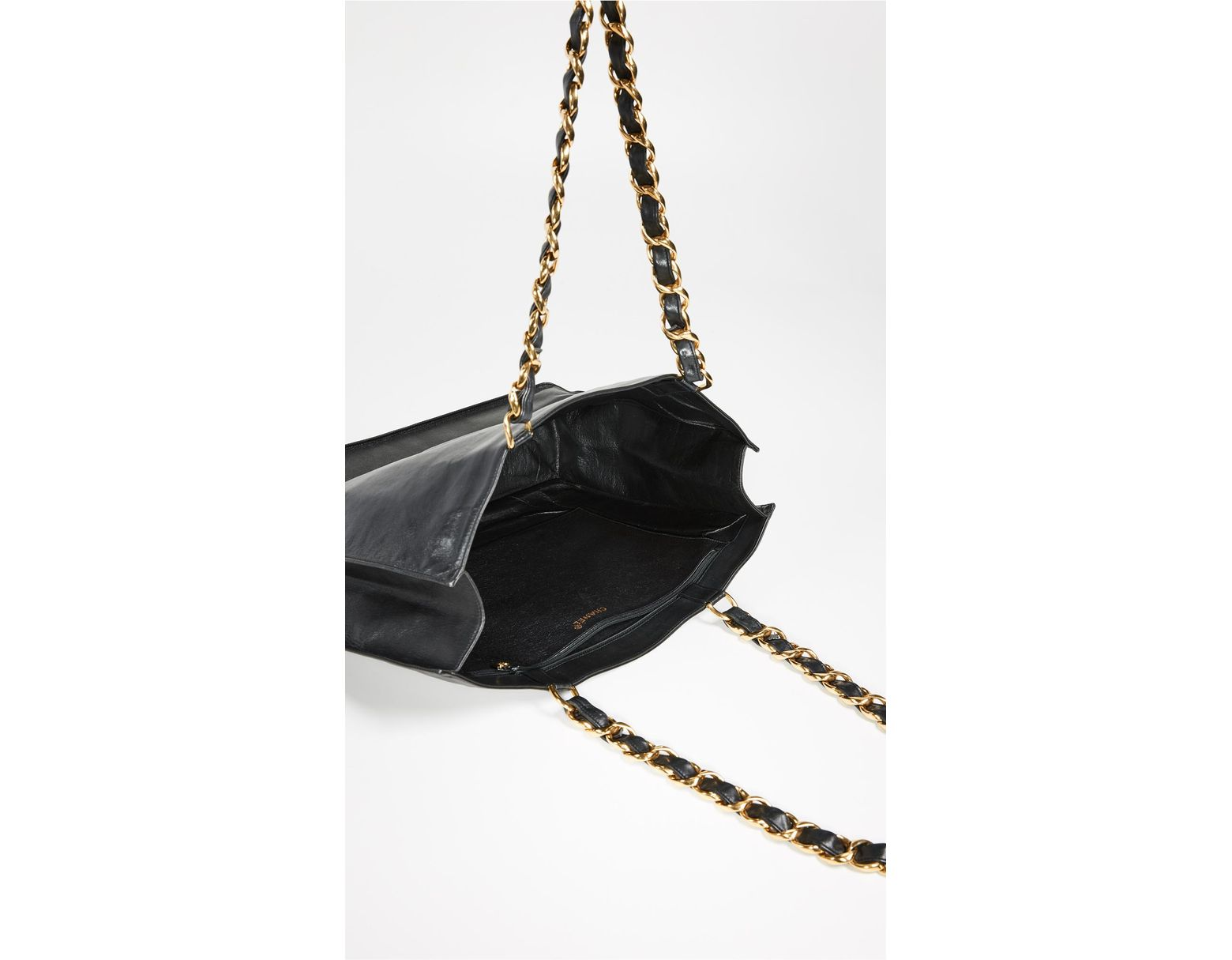 a9cb89a74f3a What Goes Around Comes Around Chanel Flat Chain Tote in Black - Lyst