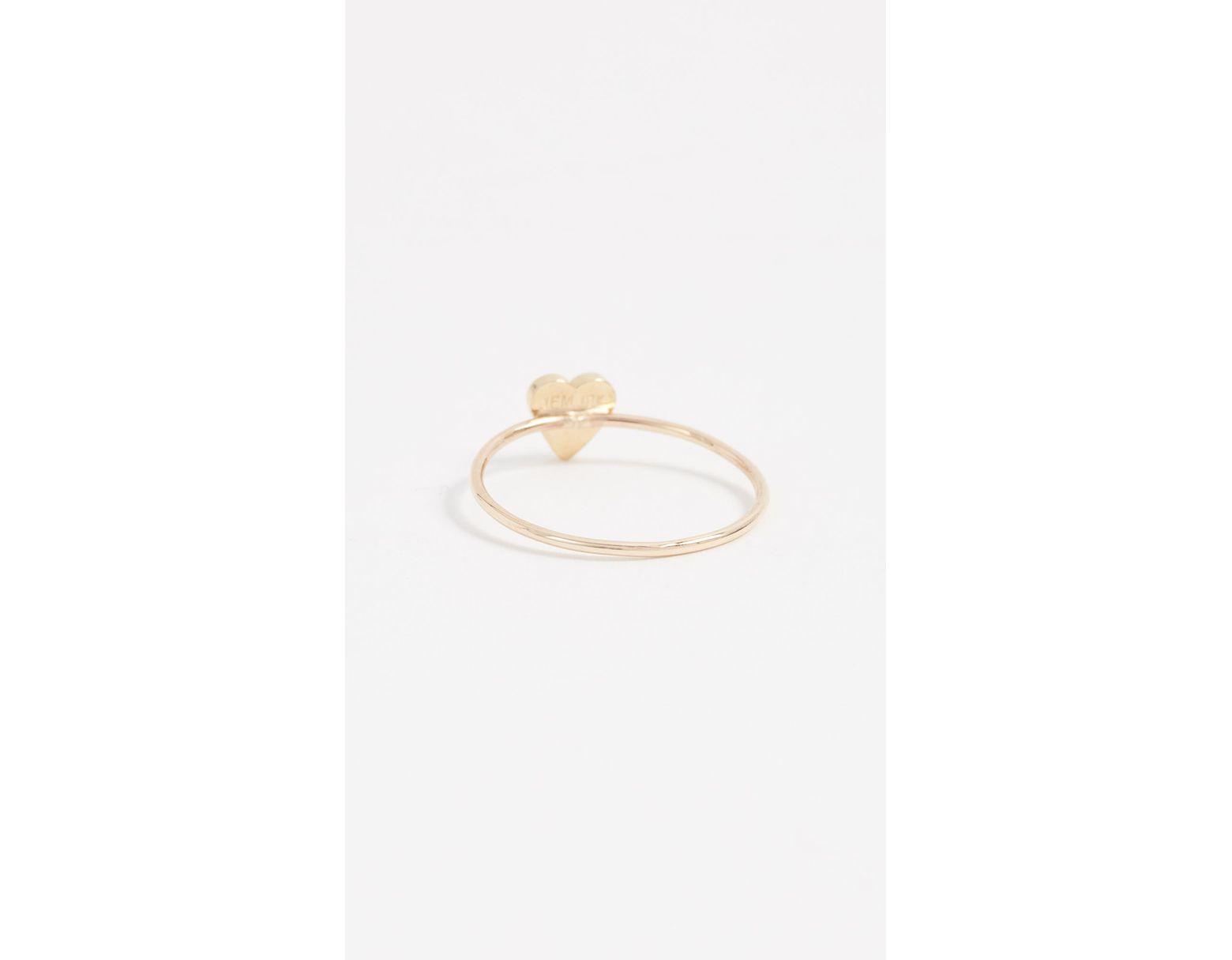 02fc8f4126da11 Jennifer Meyer Mini Heart Ring in Metallic - Lyst