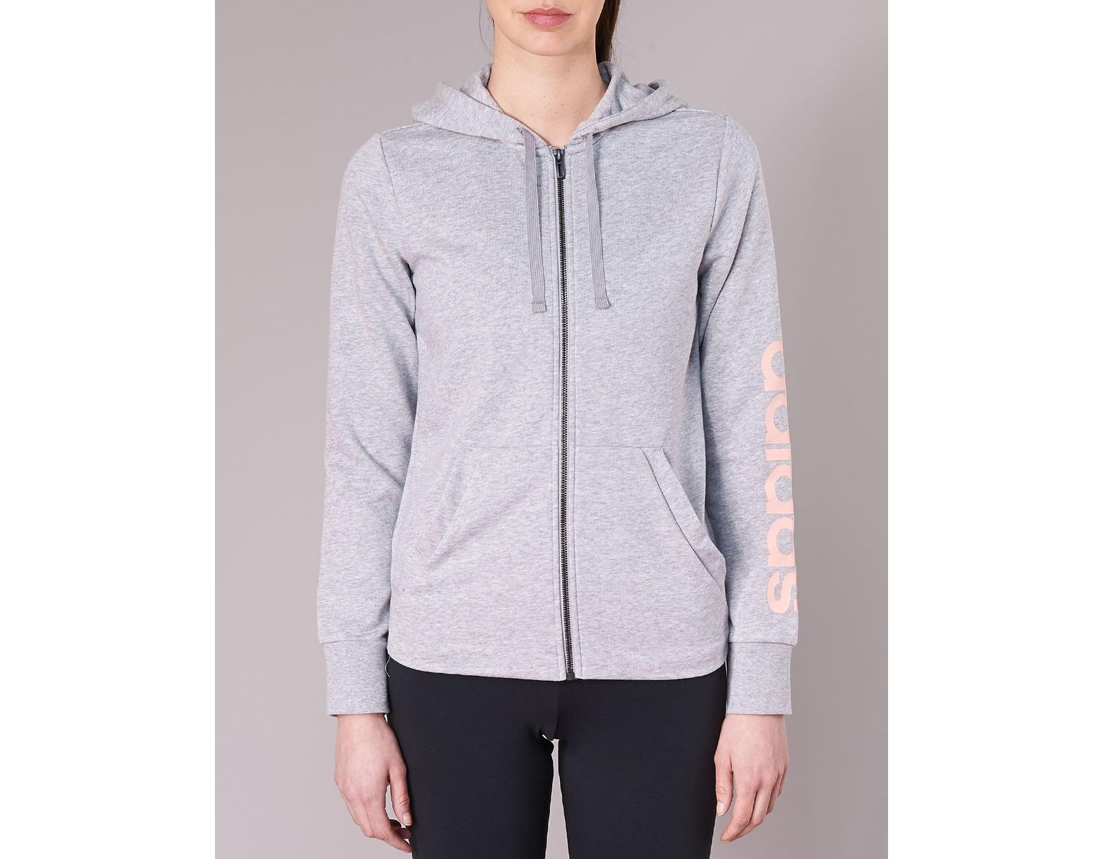 1400a0d5e41b adidas Ess 3s Fz Hd Sweatshirt in Gray - Save 10% - Lyst