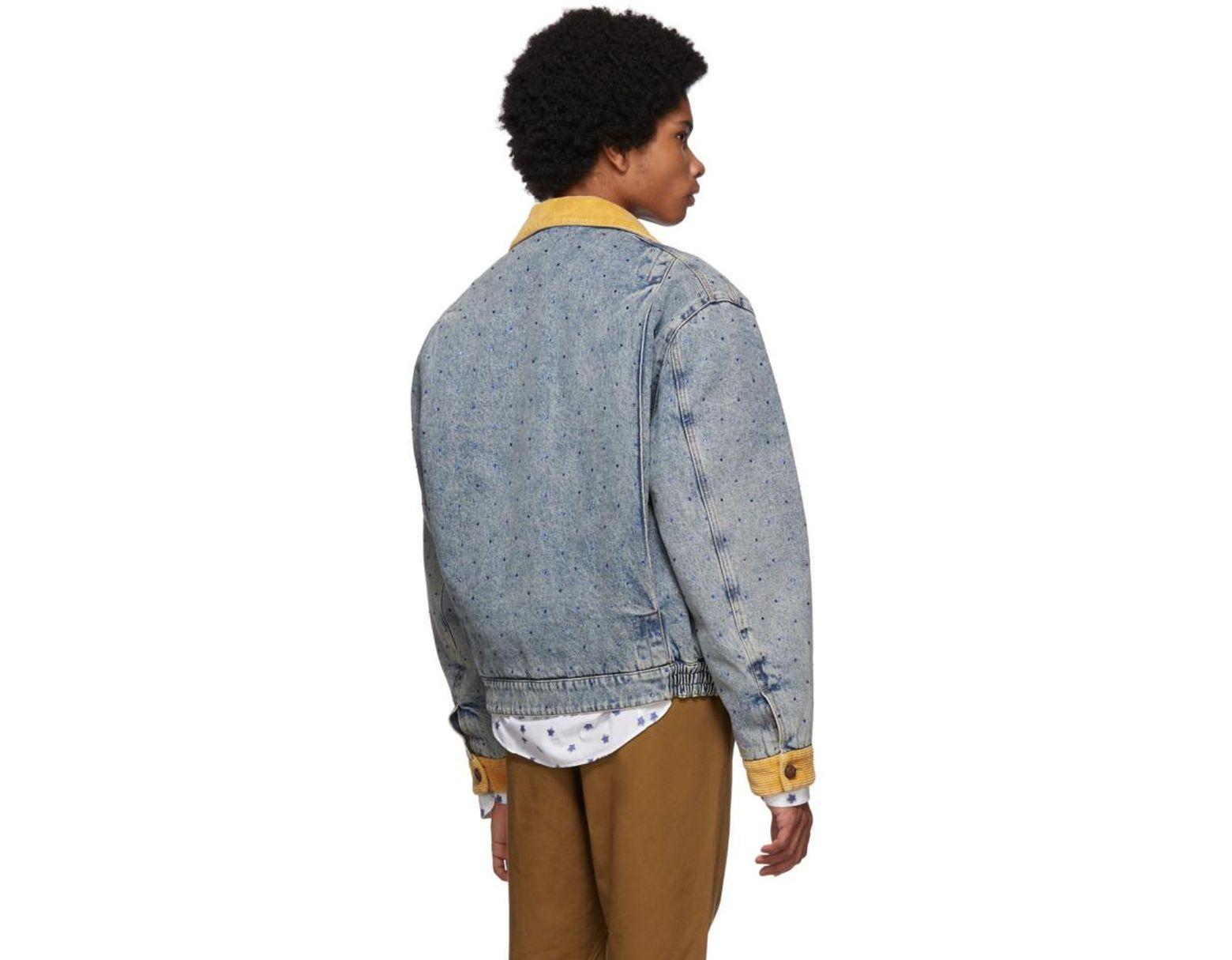 386ddd50b Gucci Blue Denim Rhinestone Jacket in Blue for Men - Lyst