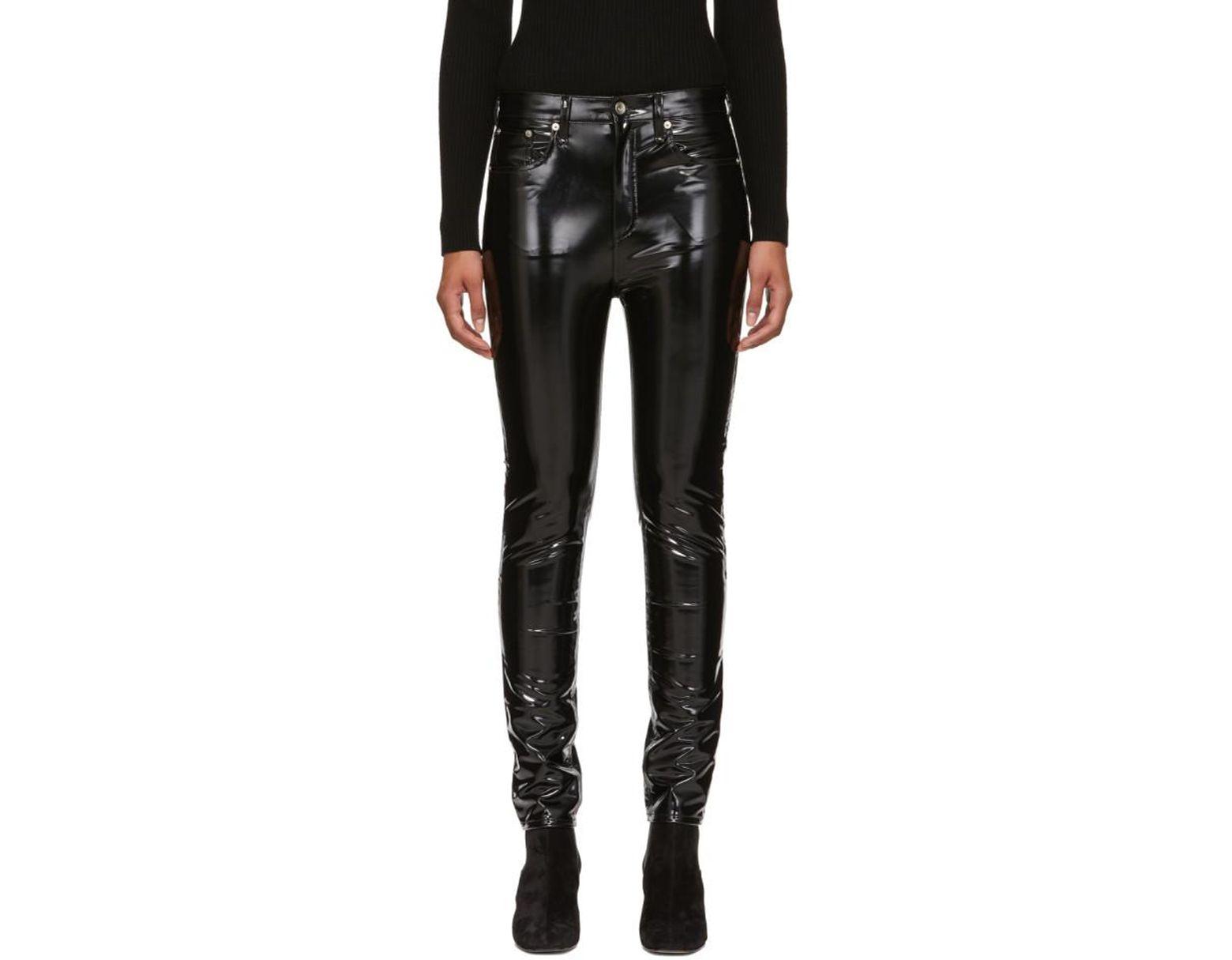 4085c0788ab7a4 Jean skinny a taille haute en vinyle noir Rag & Bone en coloris Noir - Lyst