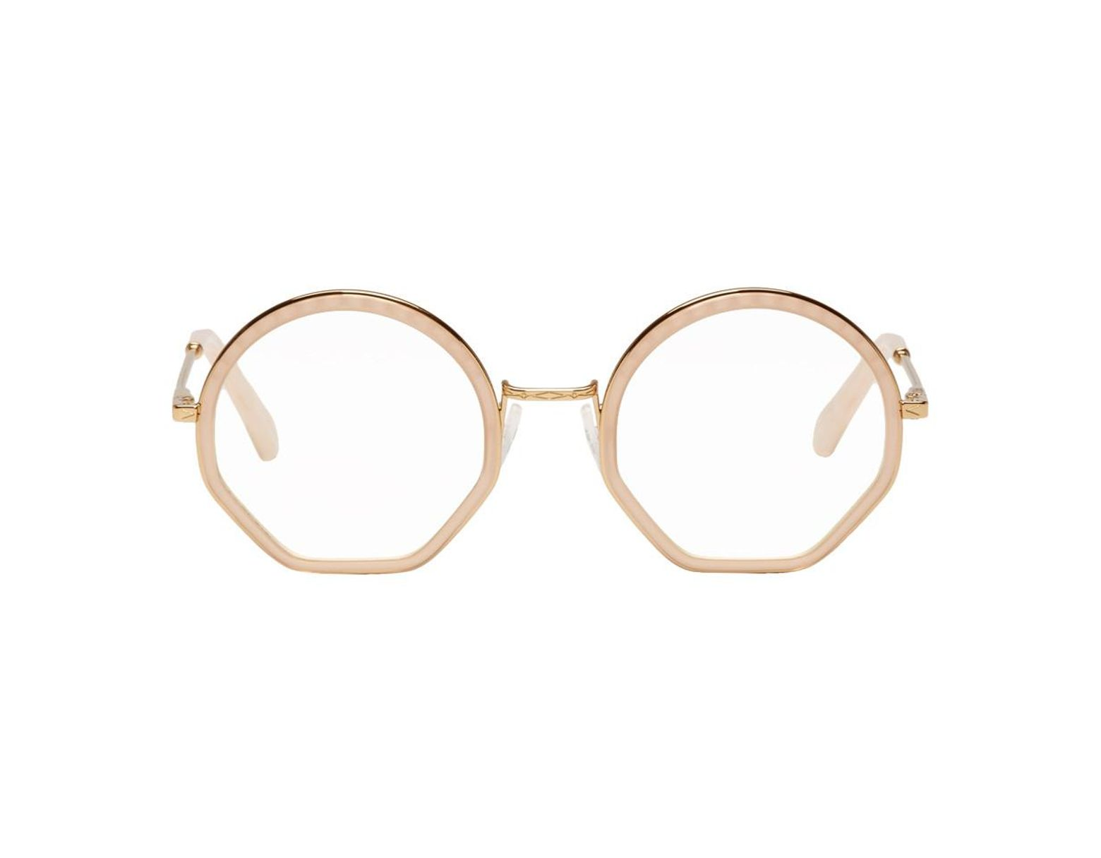 04a761cb5c88 Chloé Gold And Pink Tilda Glasses in Metallic - Lyst