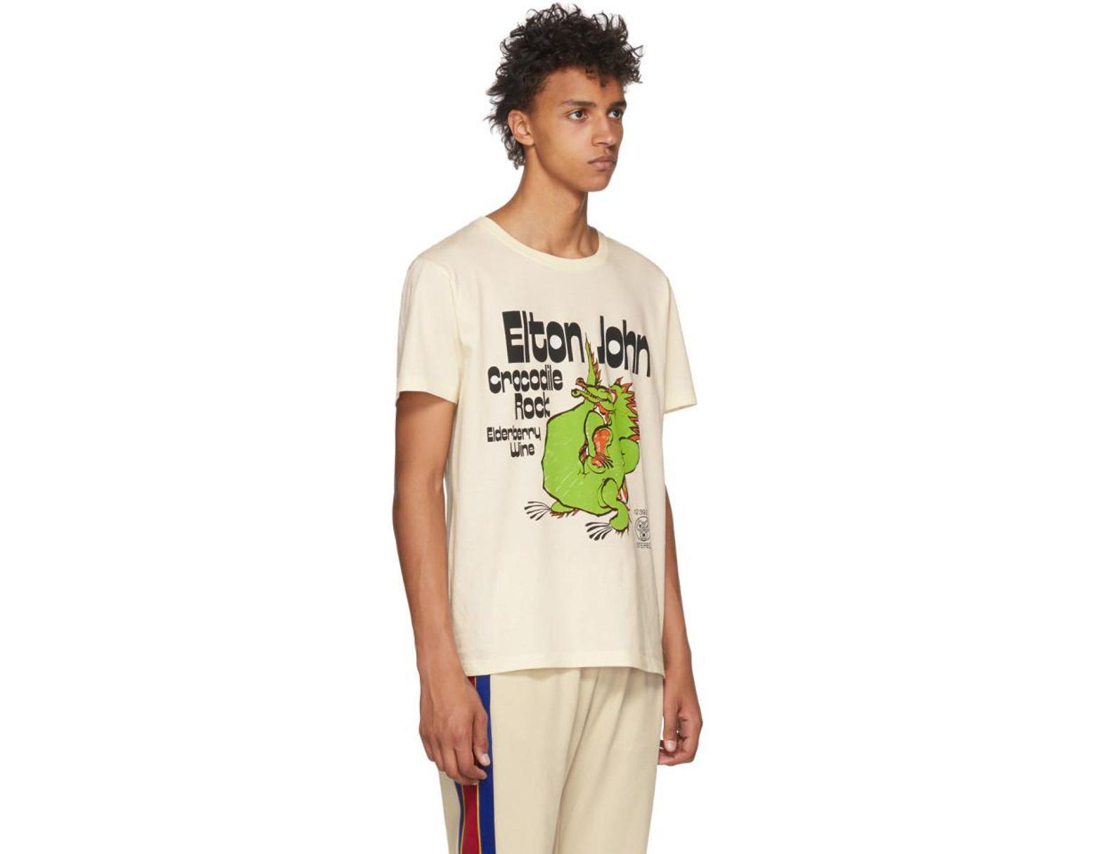 d5bcd8f5d67d Gucci Off-white Elton John Crocodile Rock T-shirt for Men - Lyst