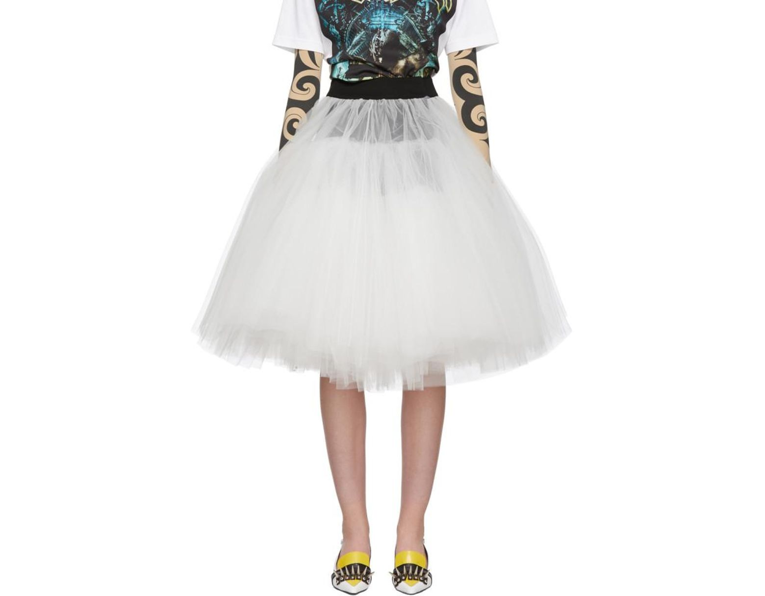 689a6ab2c6 Junya Watanabe Black And White Tulle Skirt in Black - Lyst