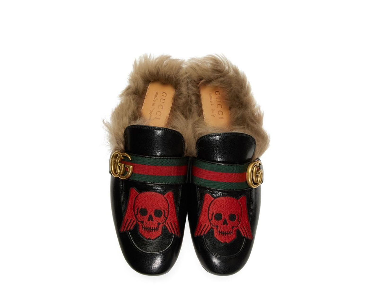bb3ec847a Gucci Black Skull New Princetown Loafers in Black for Men - Lyst