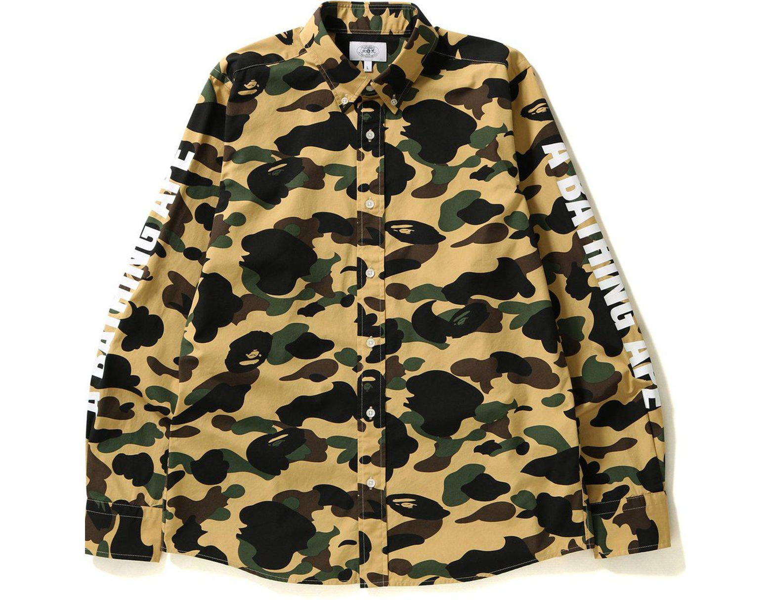 6523a350 A Bathing Ape 1st Camo Bd Shirt Shirt Yellow in Yellow for Men - Save 10% -  Lyst