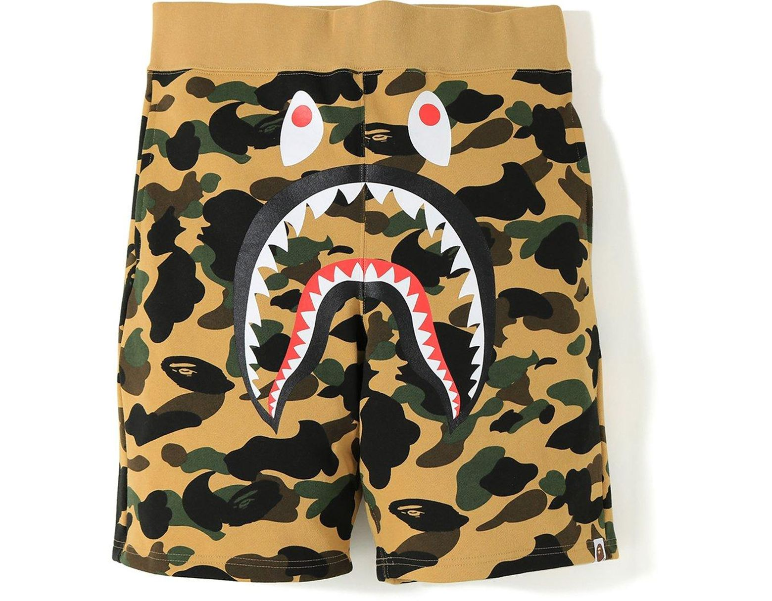 4203f2f9 A Bathing Ape 1st Camo Shark Sweat Shorts Yellow in Yellow for Men - Lyst