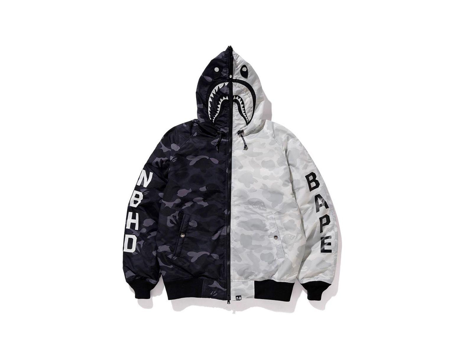864ff8f28 A Bathing Ape X Neighborhood Down Shark Jacket Black/white in Black for Men  - Lyst