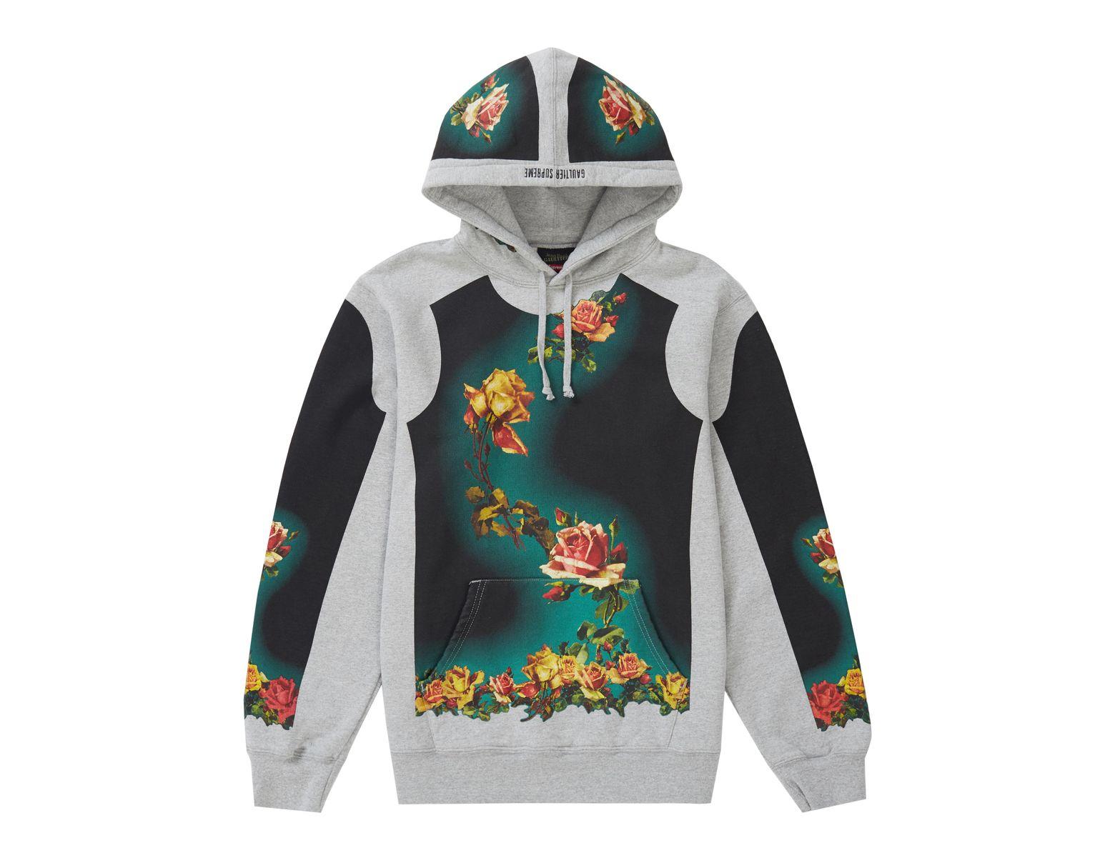 b239cf5c Supreme Jean Paul Gaultier Floral Print Hooded Sweatshirt Heather Grey in  Gray for Men - Save 71% - Lyst