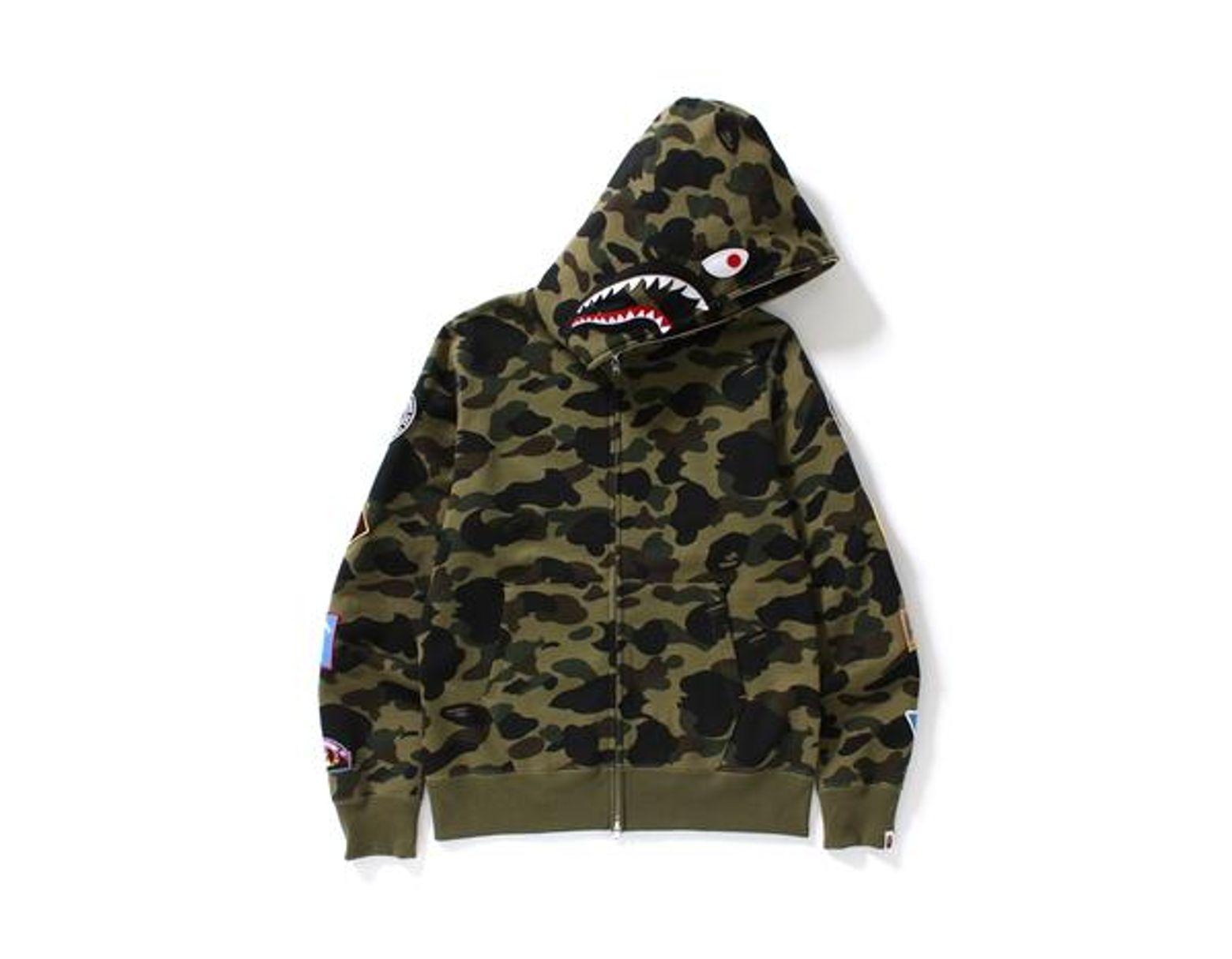 267daf96 A Bathing Ape 1st Camo Multi Logo Shark Full Zip Hoodie Green Camo in Green  for Men - Lyst