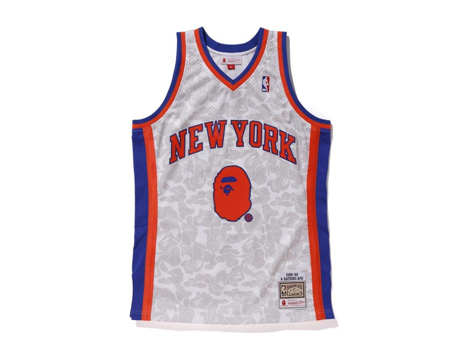 2dee047d A Bathing Ape X Mitchell & Ness Knicks Abc Basketball Swingman Jersey White  in White for Men - Lyst