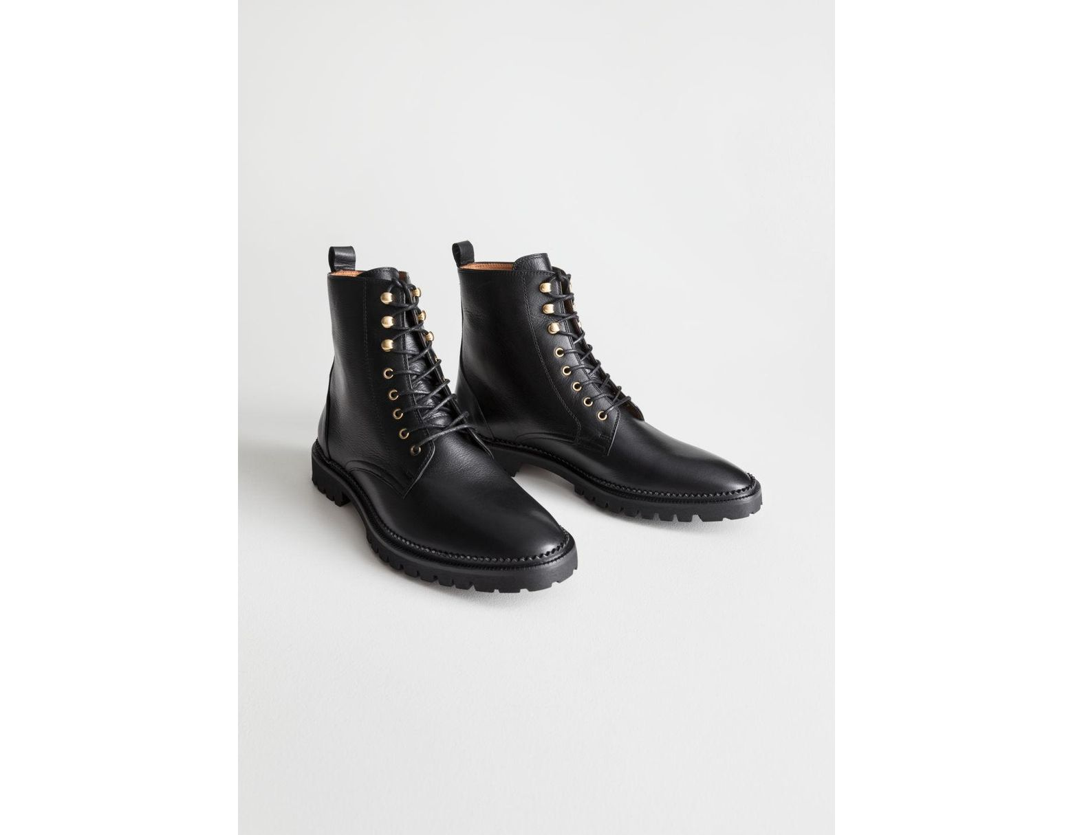 adf241be6 & Other Stories Lace-up Leather Boots in Black - Save 30% - Lyst