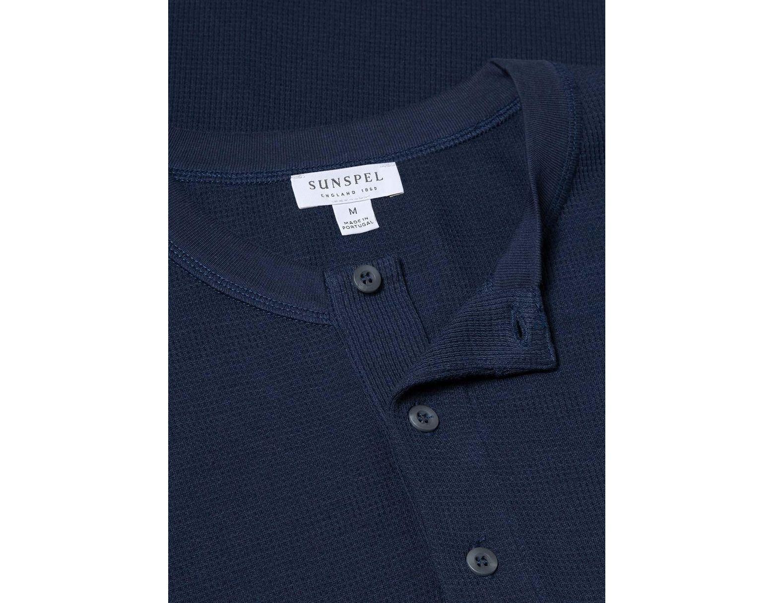 ebb545a1c3 Sunspel Men's Cotton Waffle Long Sleeve Henley In Navy in Blue for Men -  Save 60% - Lyst