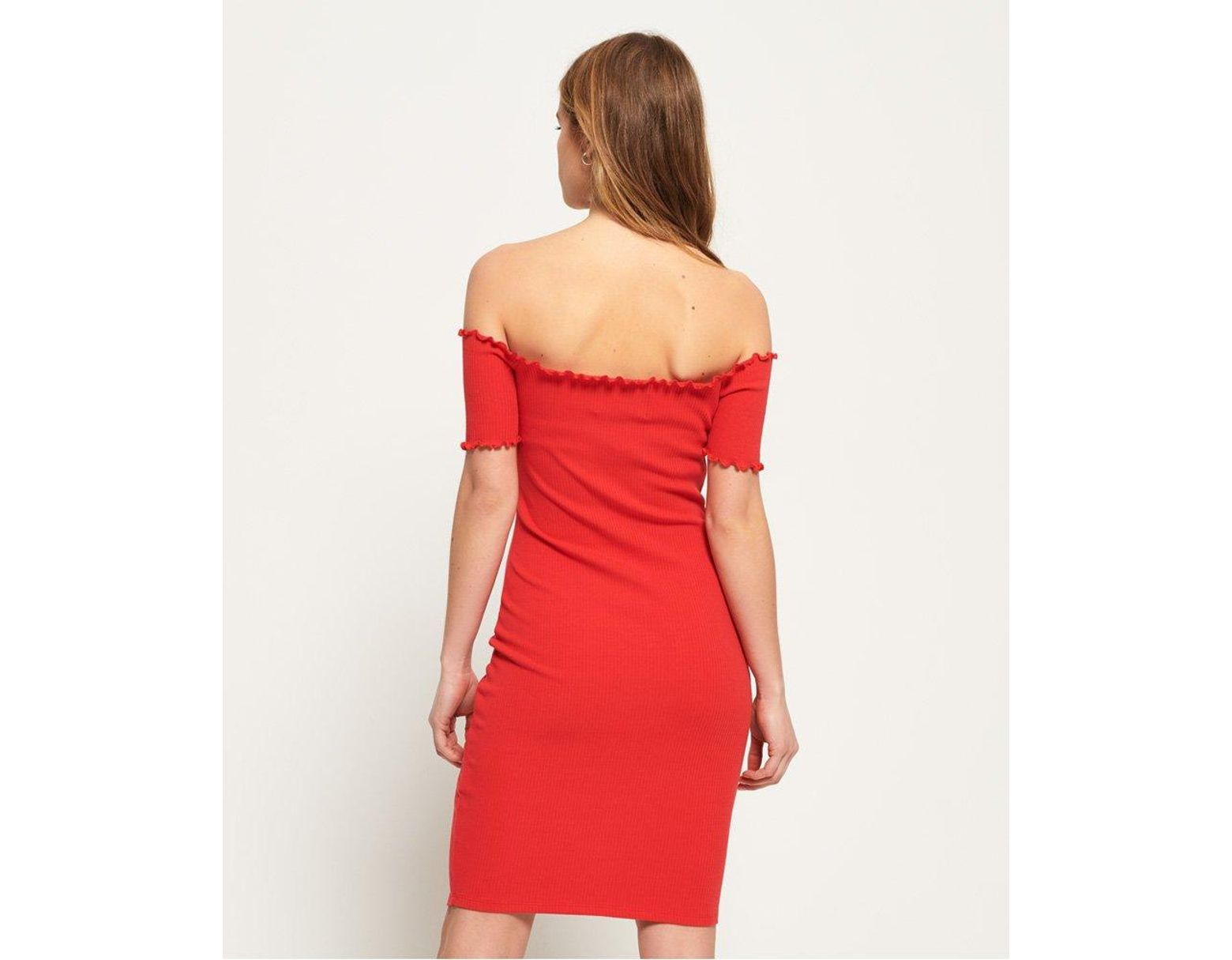 73097a08f0 Superdry Harper Bardot Dress in Red - Lyst