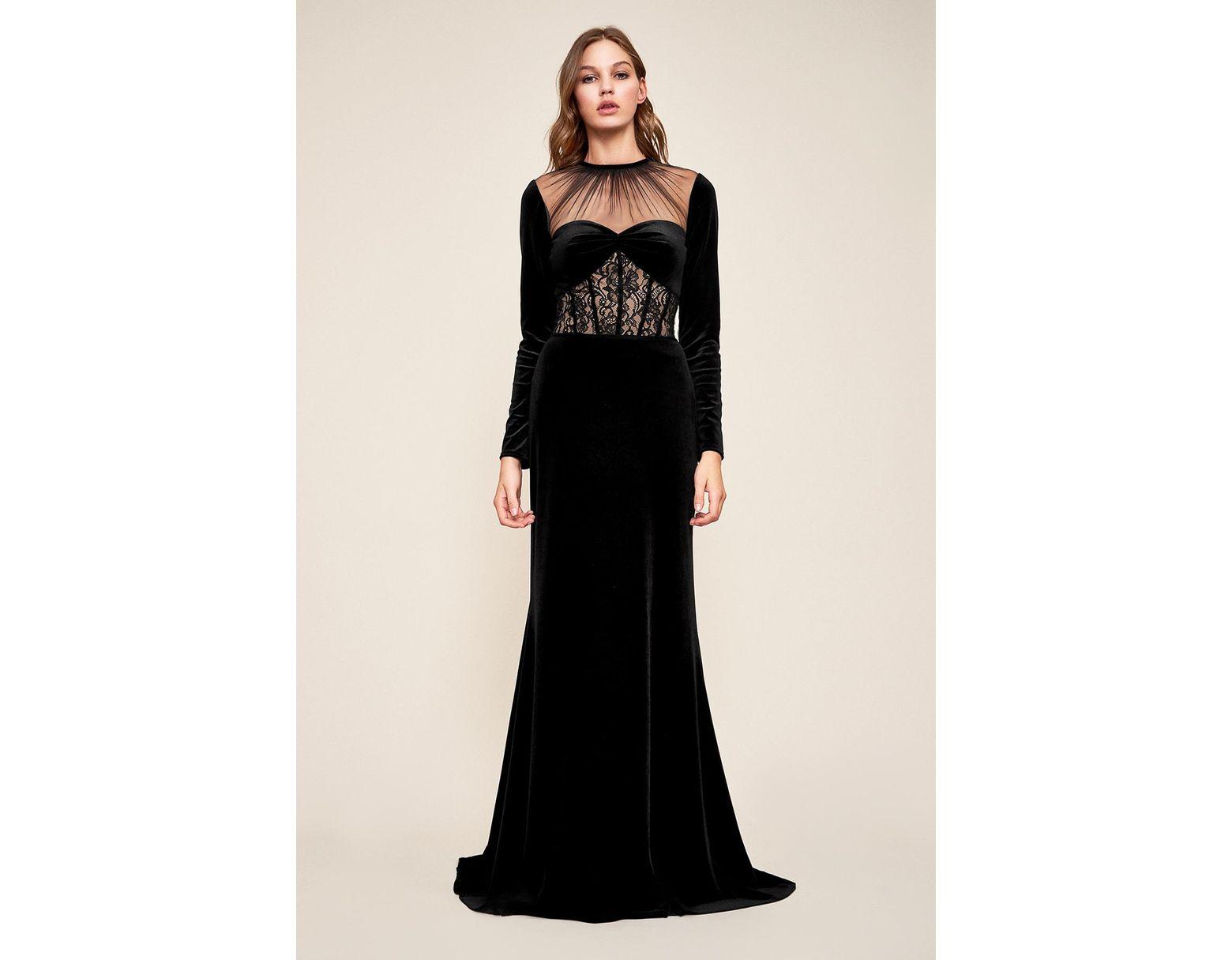 2493494598 Tadashi Shoji Marcella Long-sleeve Velvet Gown in Black - Lyst