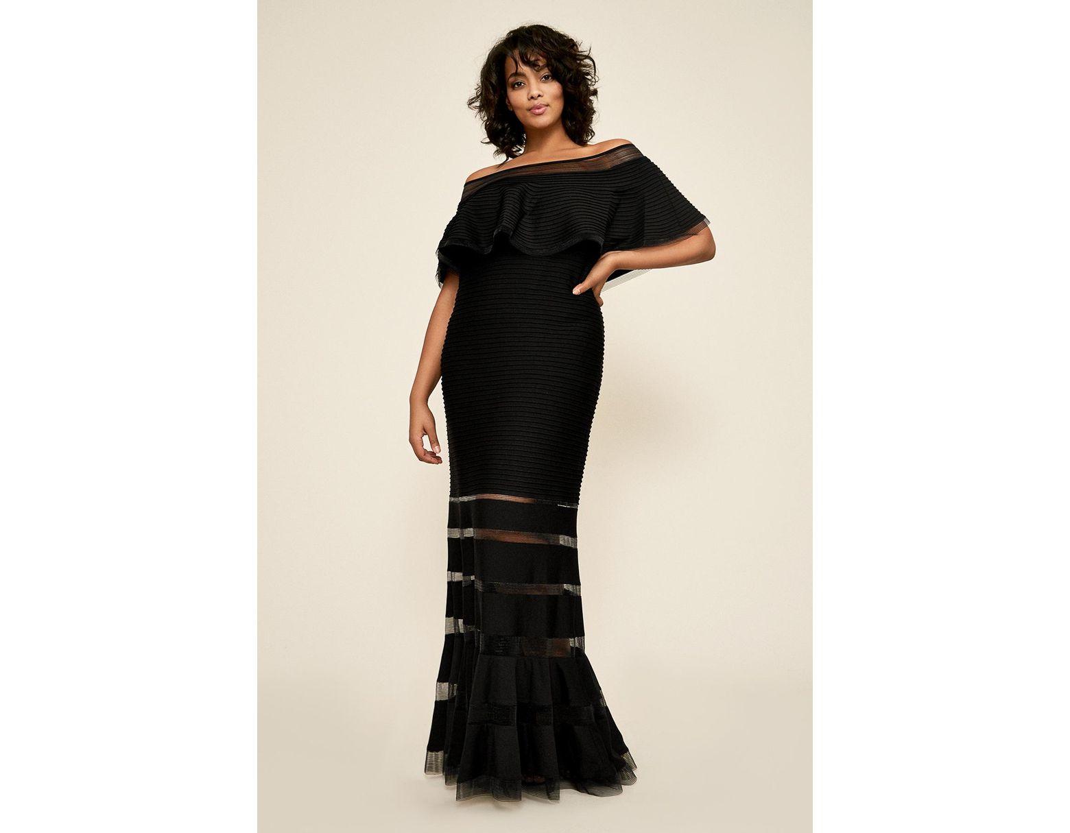 Tadashi Shoji Tabora Off-the-shoulder Gown - Plus Size in Black - Lyst