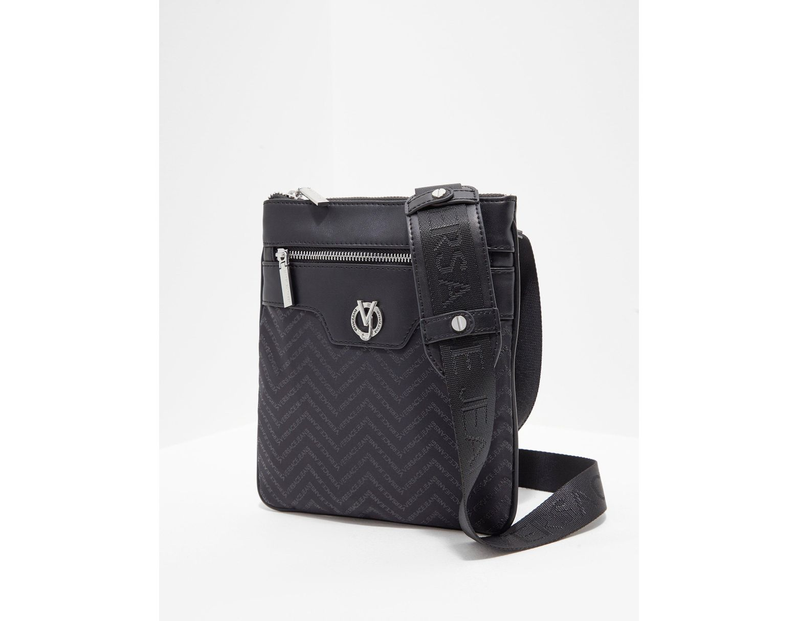 eede46f01ac Versace Jeans Linea Chevron Small Item Bag Black in Black for Men - Lyst