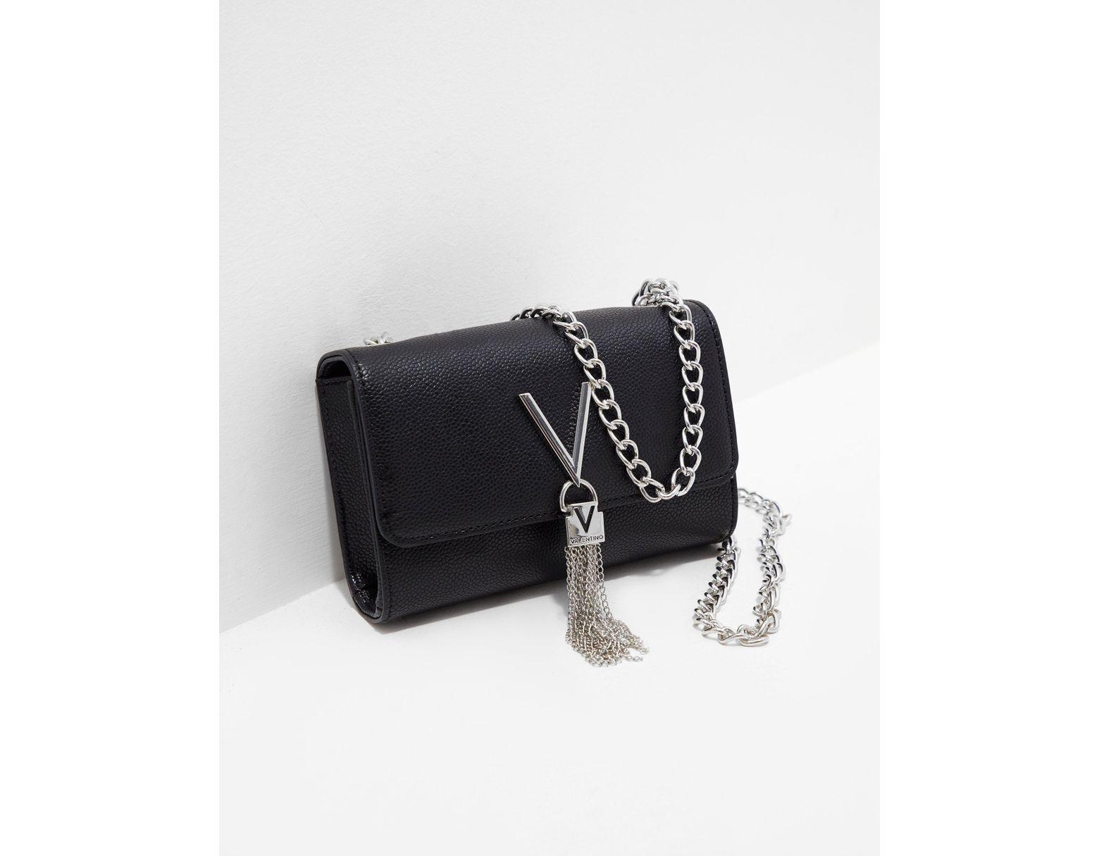 34eee19d8 Valentino By Mario Valentino Divina Chain Shoulder Bag Black in Black - Lyst