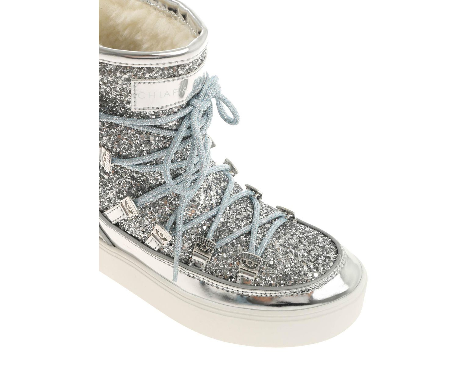 3d16ac45768a Chiara Ferragni Silver Moon Boots With Glitter in Metallic - Save 37% - Lyst