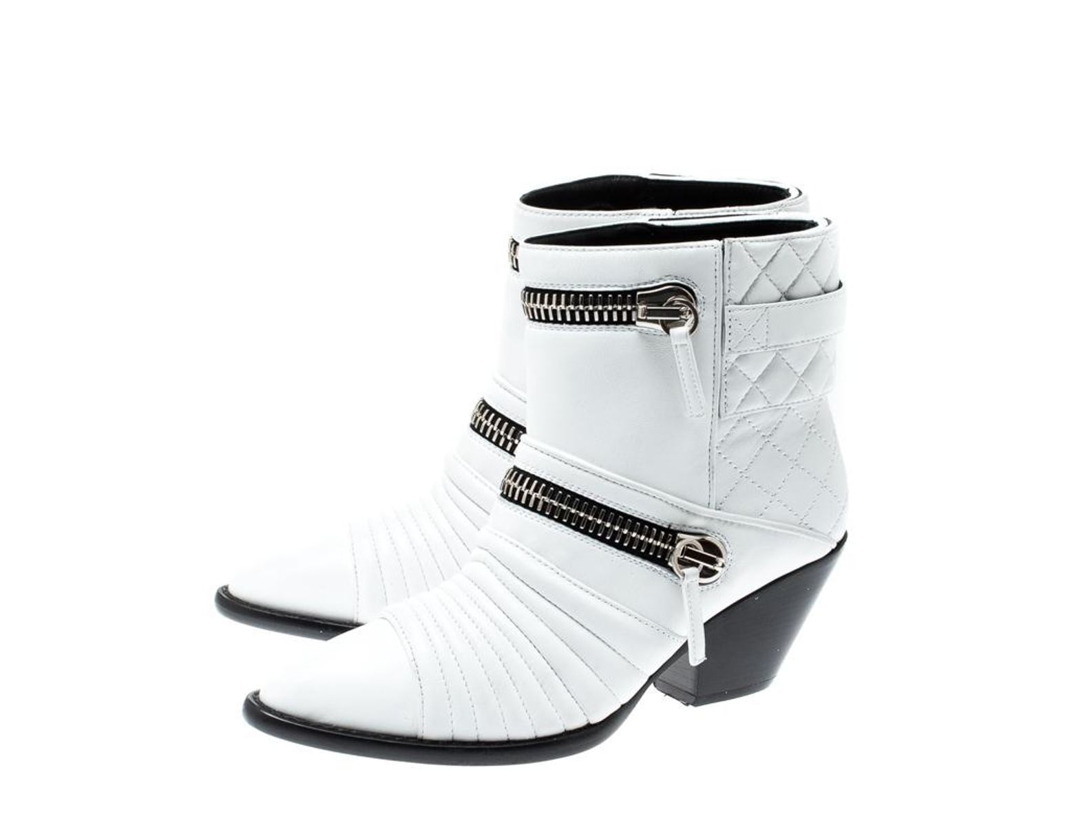 Women's White Quilted Leather Ankle Boots Size 38.5