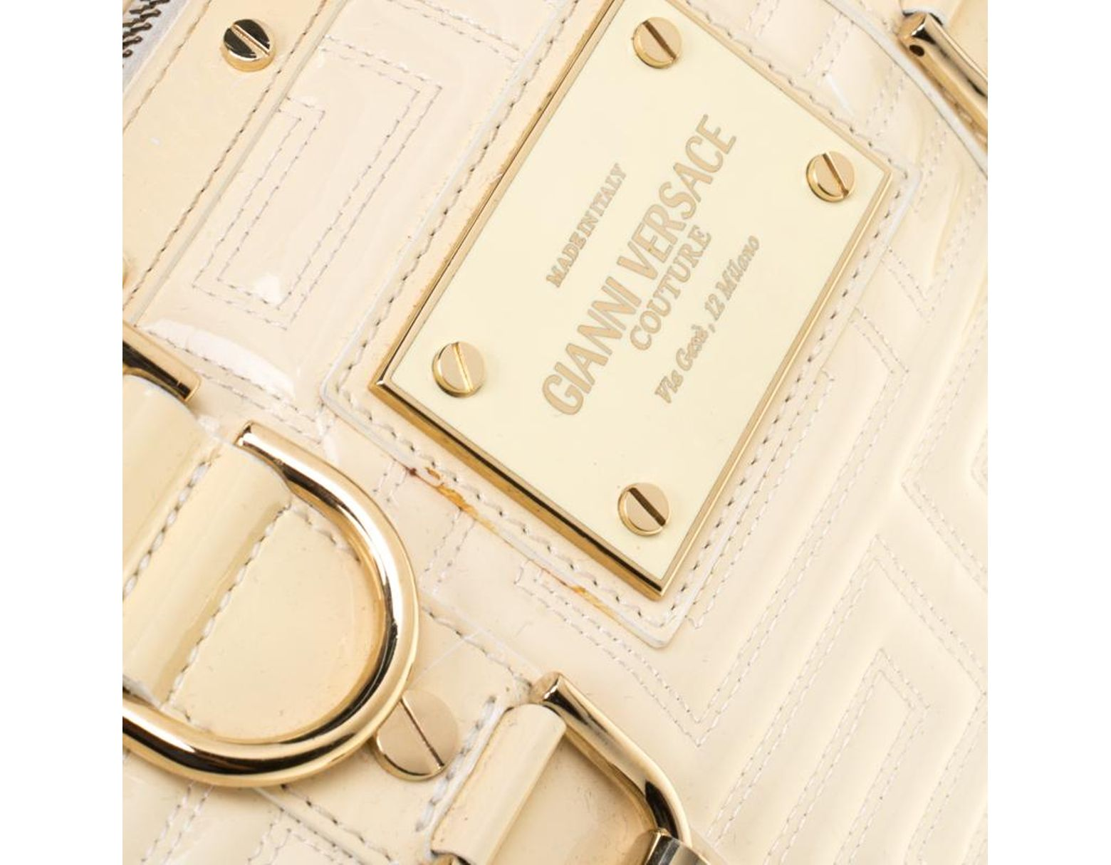 b8f6ad8d819 Versace Off White Quilted Patent Leather Small Snap Out Of It Satchel in  White - Lyst