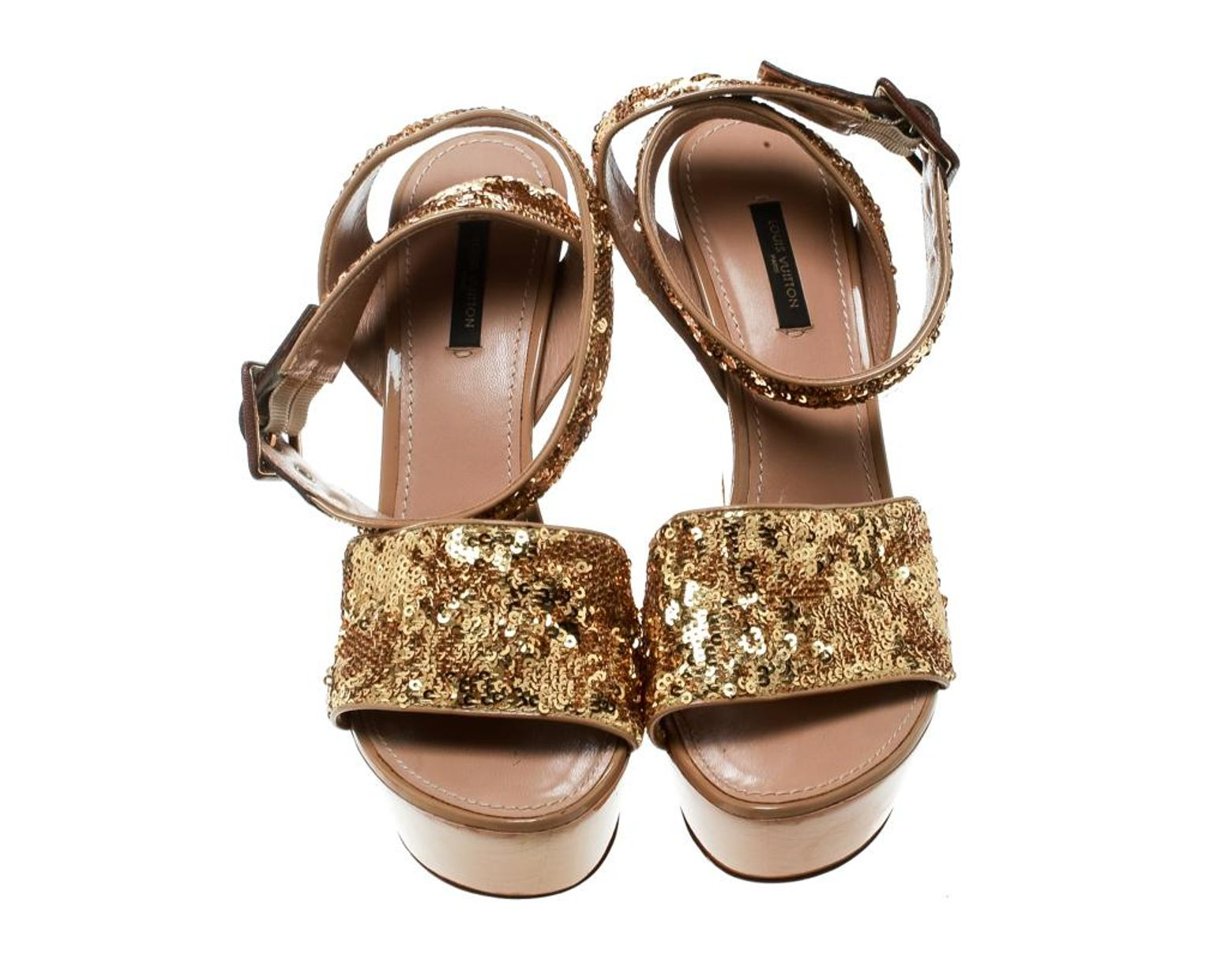 377218a9f860 Lyst - Louis Vuitton Leather Sandal in Metallic - Save 1%
