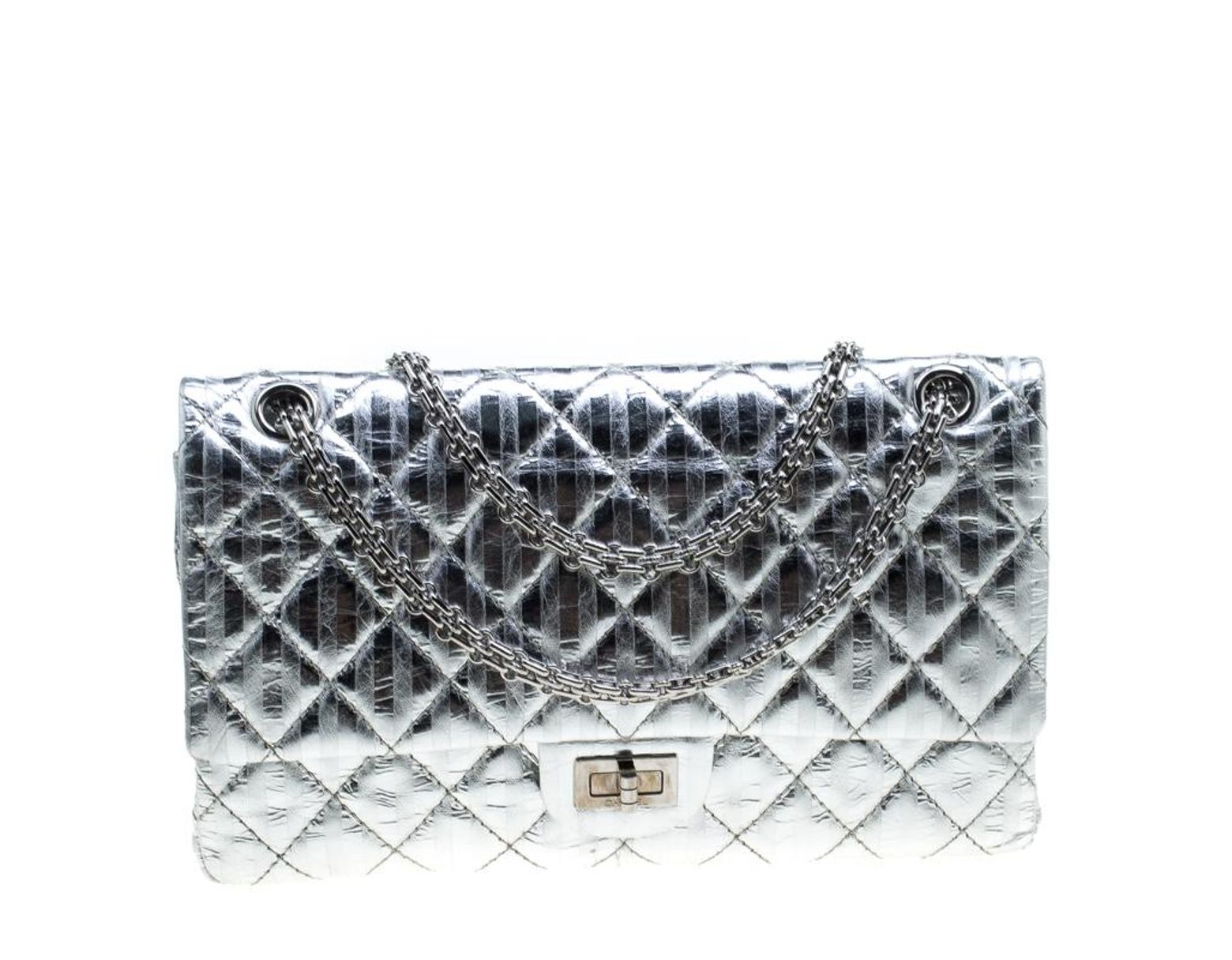 7d511f4b2ac2 Chanel Silver Quilted Leather Striped Reissue 2.55 Classic 226 Flap Bag in  Metallic - Lyst