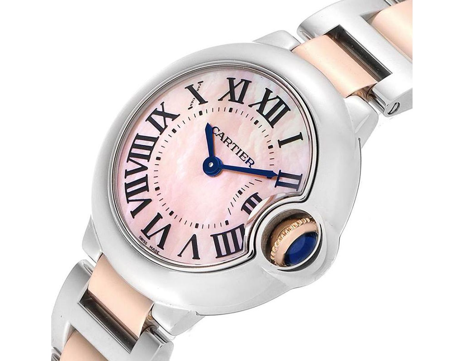 competitive price eb2c7 ae7e2 Cartier Mop Stainless Steel And 18k Rose Gold Ballon Bleu ...