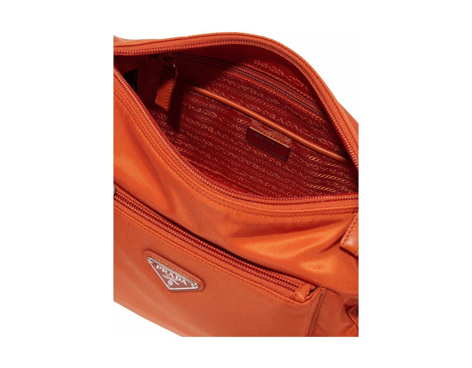 2dab9aab09921e Prada Woman Leather-trimmed Shell Shoulder Bag Orange in Orange - Lyst
