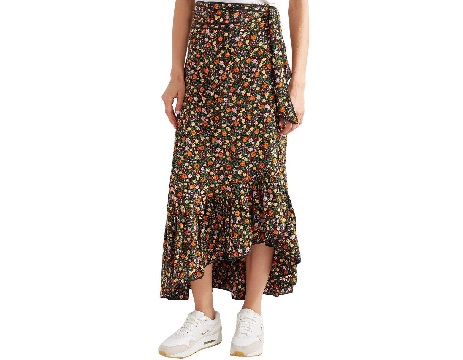 5f3c6eb61f Ganni Ruffled Floral-print Silk Crepe De Chine Midi Wrap Skirt Multicolor -  Lyst