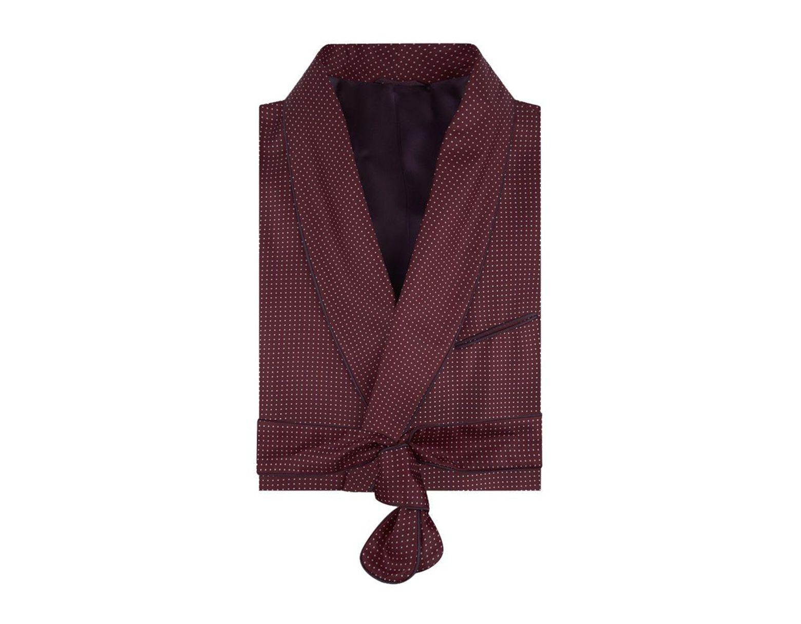 f20b6227cefb Turnbull & Asser Burgundy Spotted Silk Dressing-gown in Purple for Men -  Lyst