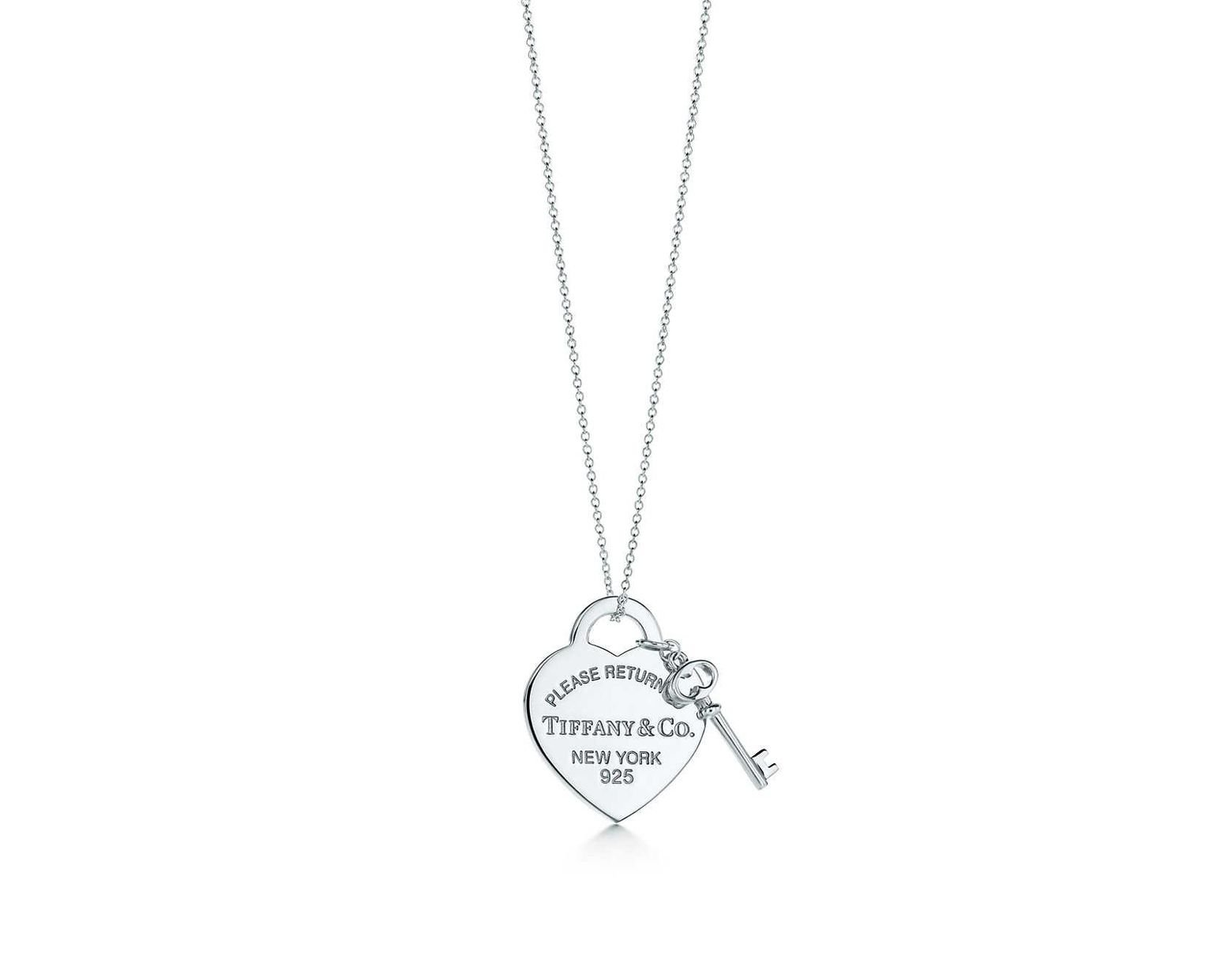145e5d71e Tiffany & Co. Medium Heart Tag With Key Pendant In Sterling Silver - 16 In  in Metallic - Lyst