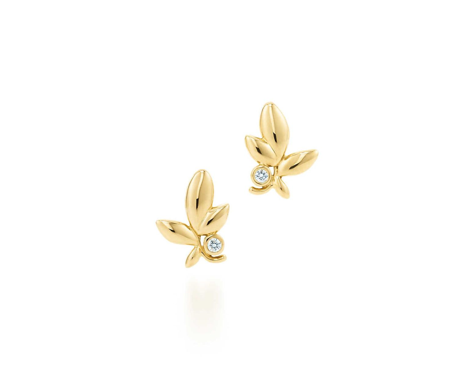 fd4820ceb Tiffany & Co. Paloma Picasso® Olive Leaf Earrings In 18k Gold With Diamonds  in Green - Lyst