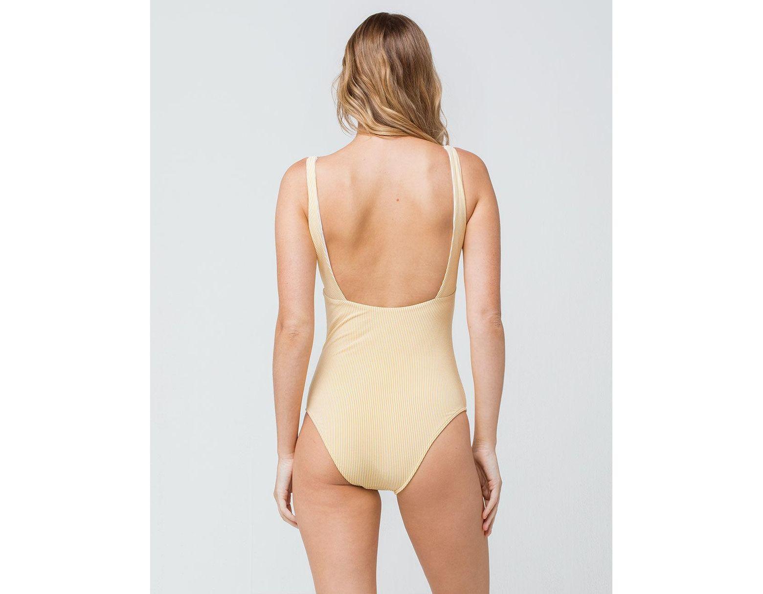7d0d3d1285b Roxy Bali Dreamers One Piece Swimsuit in Yellow - Lyst