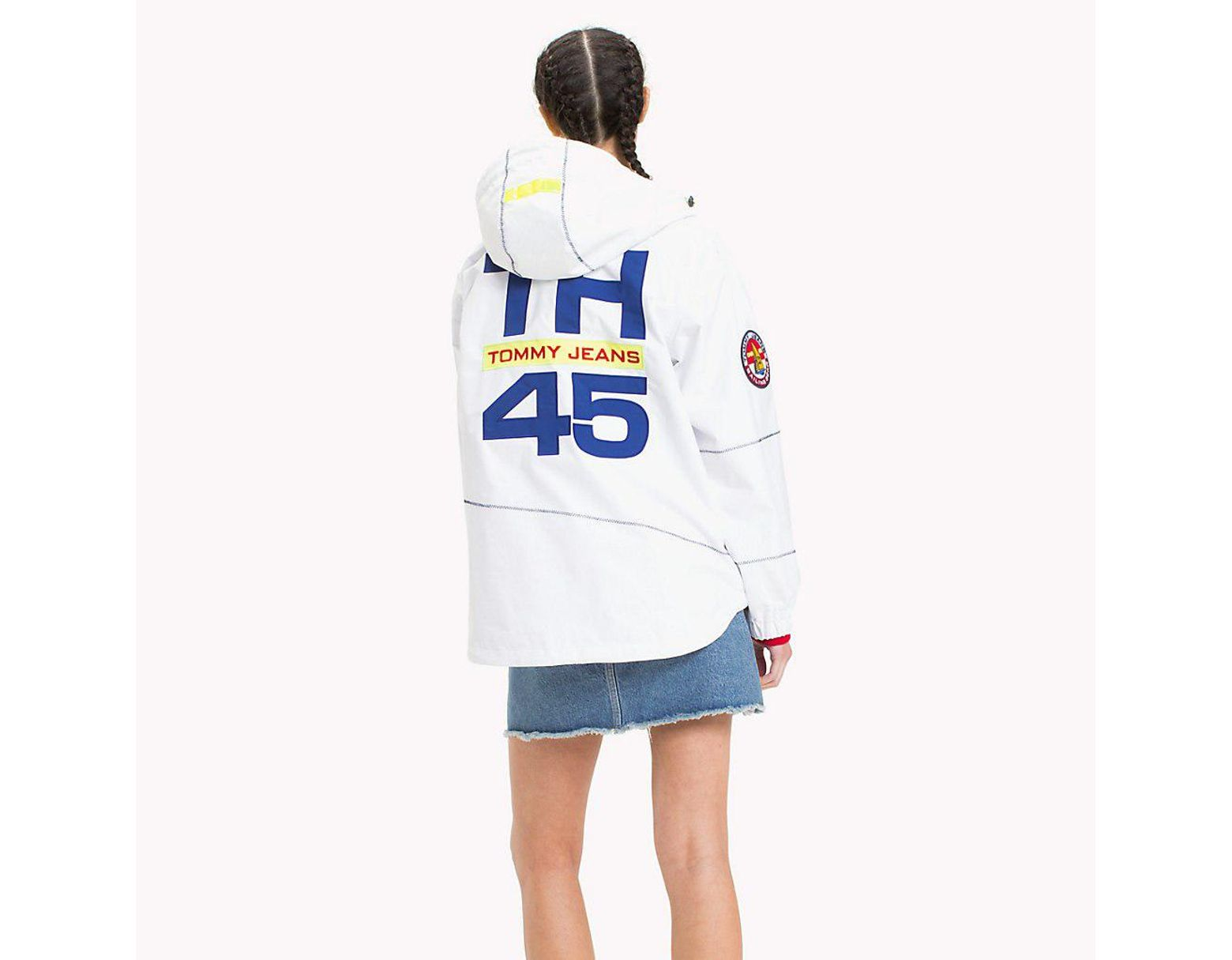 4f76c336 Tommy Hilfiger 90s Logo Sailing Jacket in White - Lyst