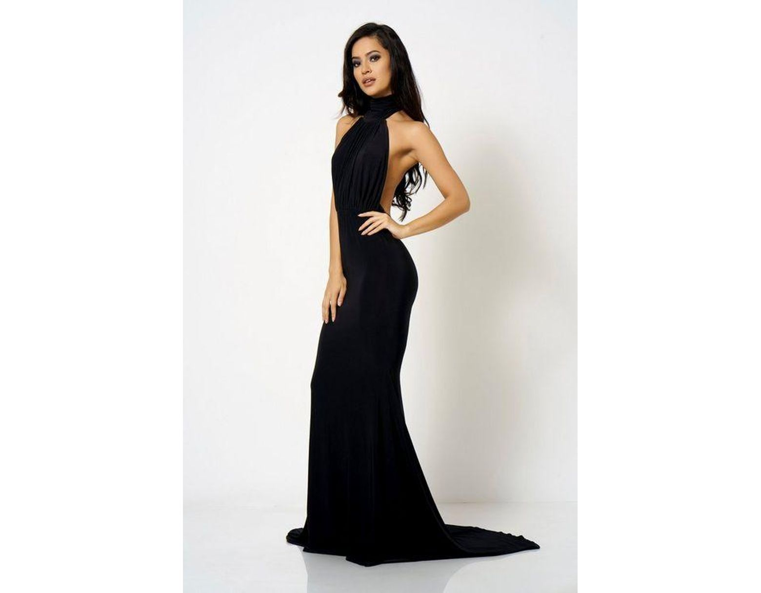 7d0e5f9d8db Club L black Backless Halter Neck Fishtail Maxi Dress By in Black - Lyst