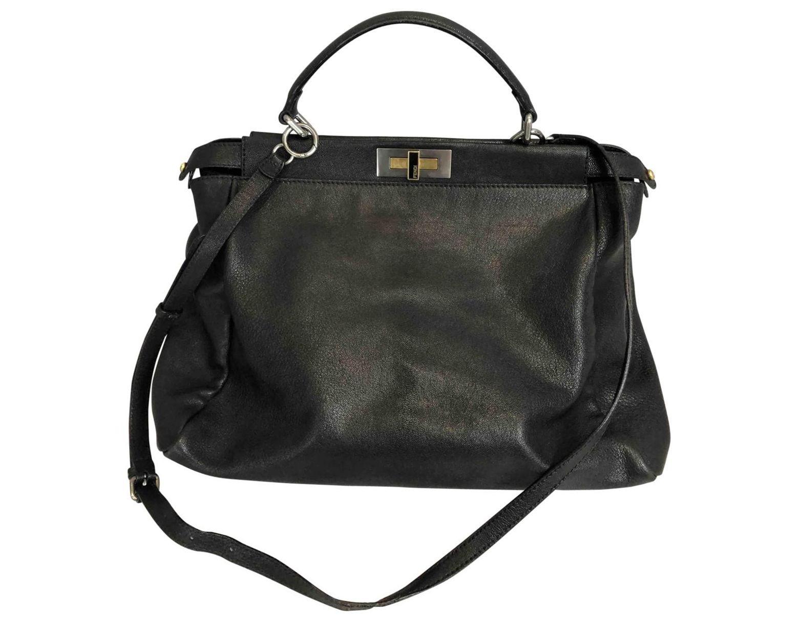 92004704 Fendi Peekaboo Leather Crossbody Bag in Black - Lyst