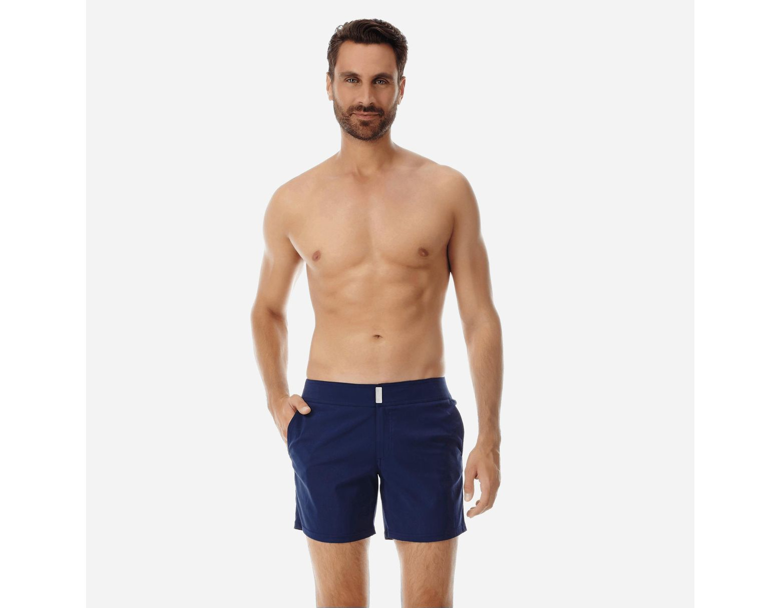 294880c16e Vilebrequin Men Flat Belt Stretch Swimwear Solid in Blue for Men - Lyst